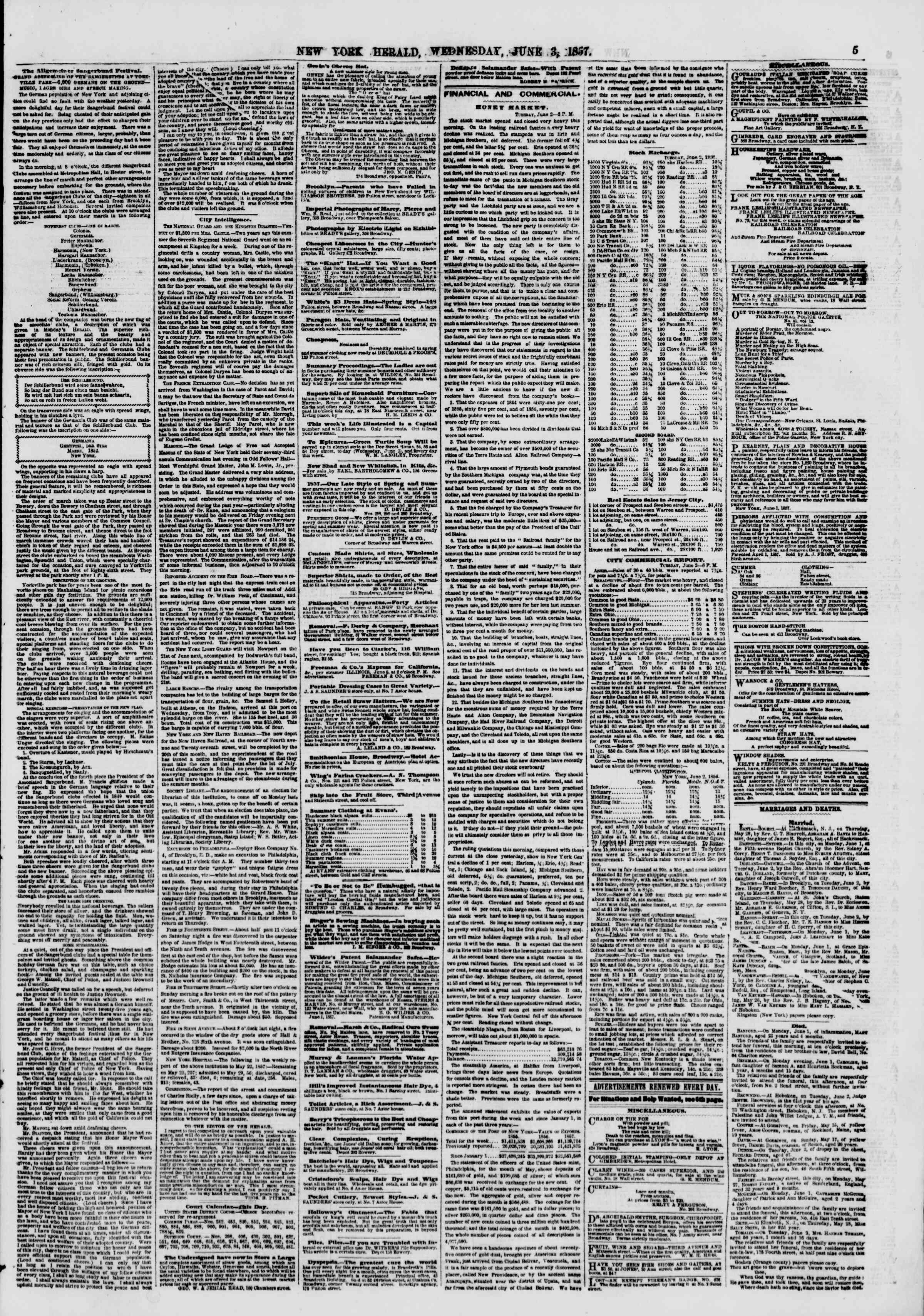 Newspaper of The New York Herald dated June 3, 1857 Page 5