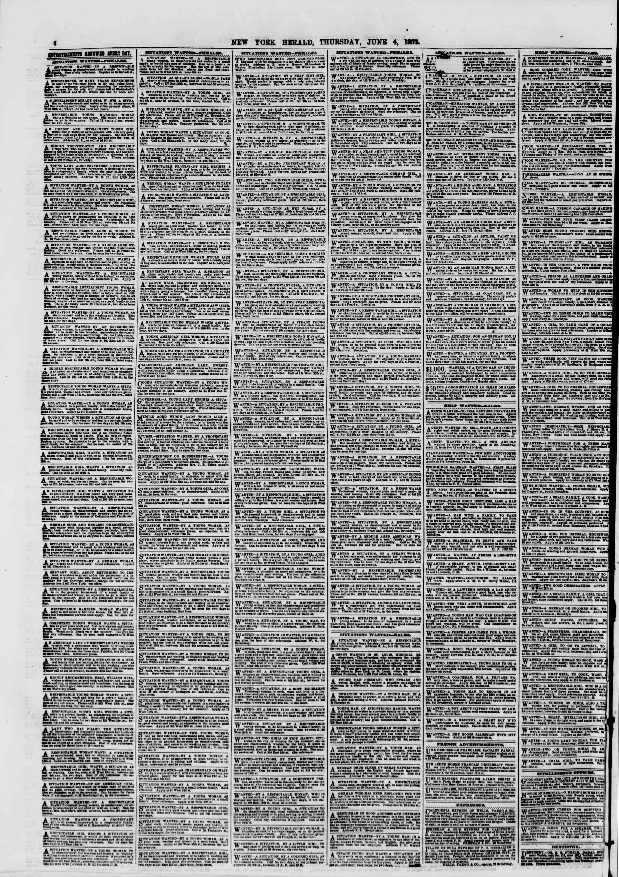 Newspaper of The New York Herald dated June 4, 1857 Page 6