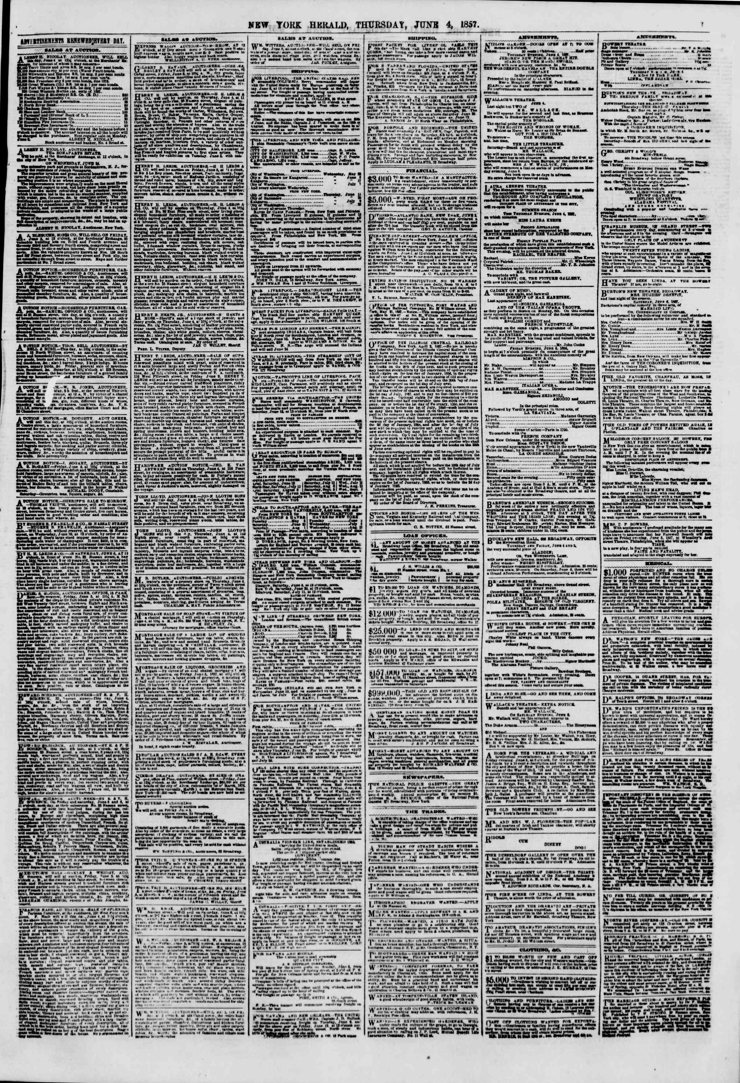 Newspaper of The New York Herald dated June 4, 1857 Page 7