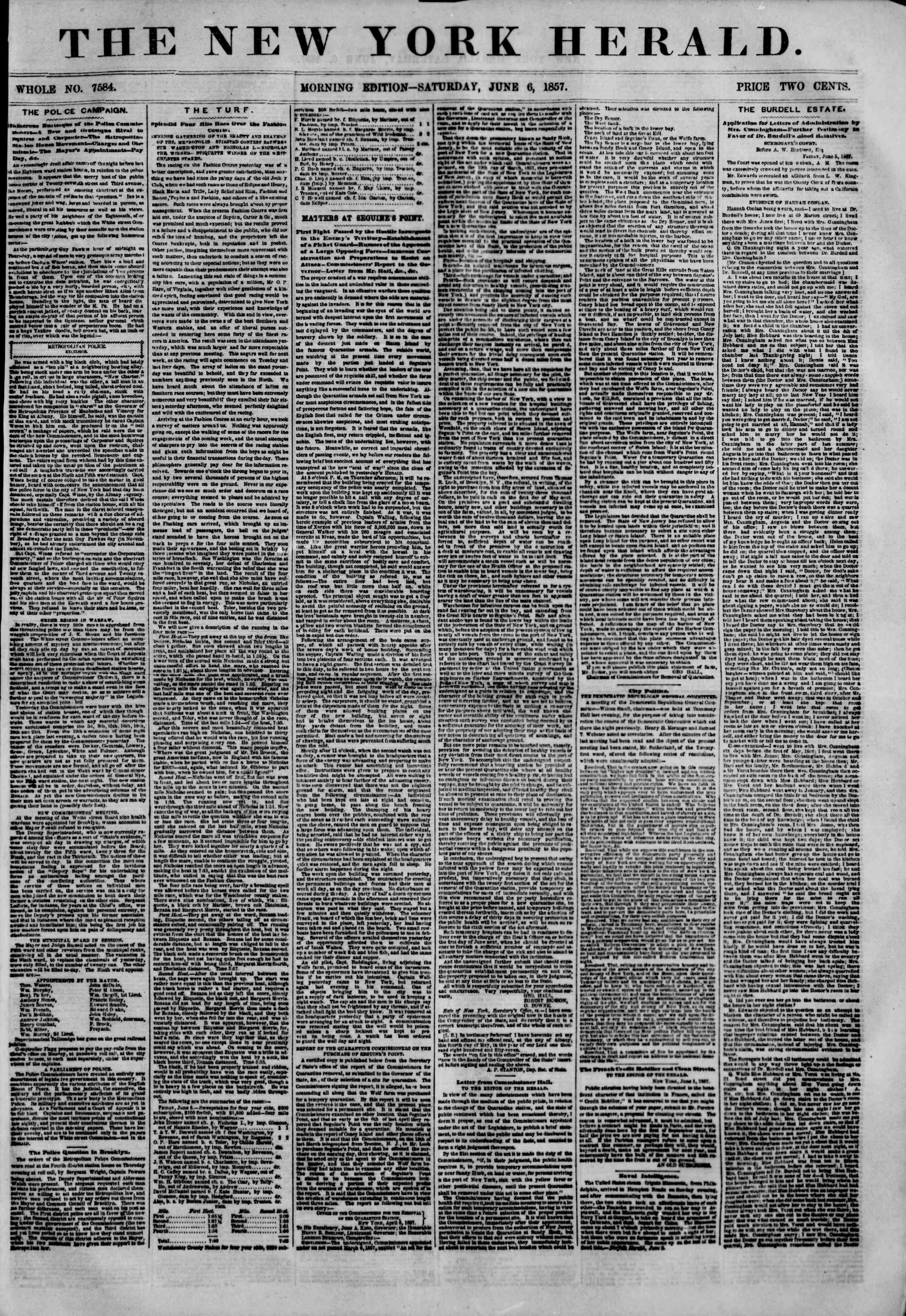 Newspaper of The New York Herald dated June 6, 1857 Page 1