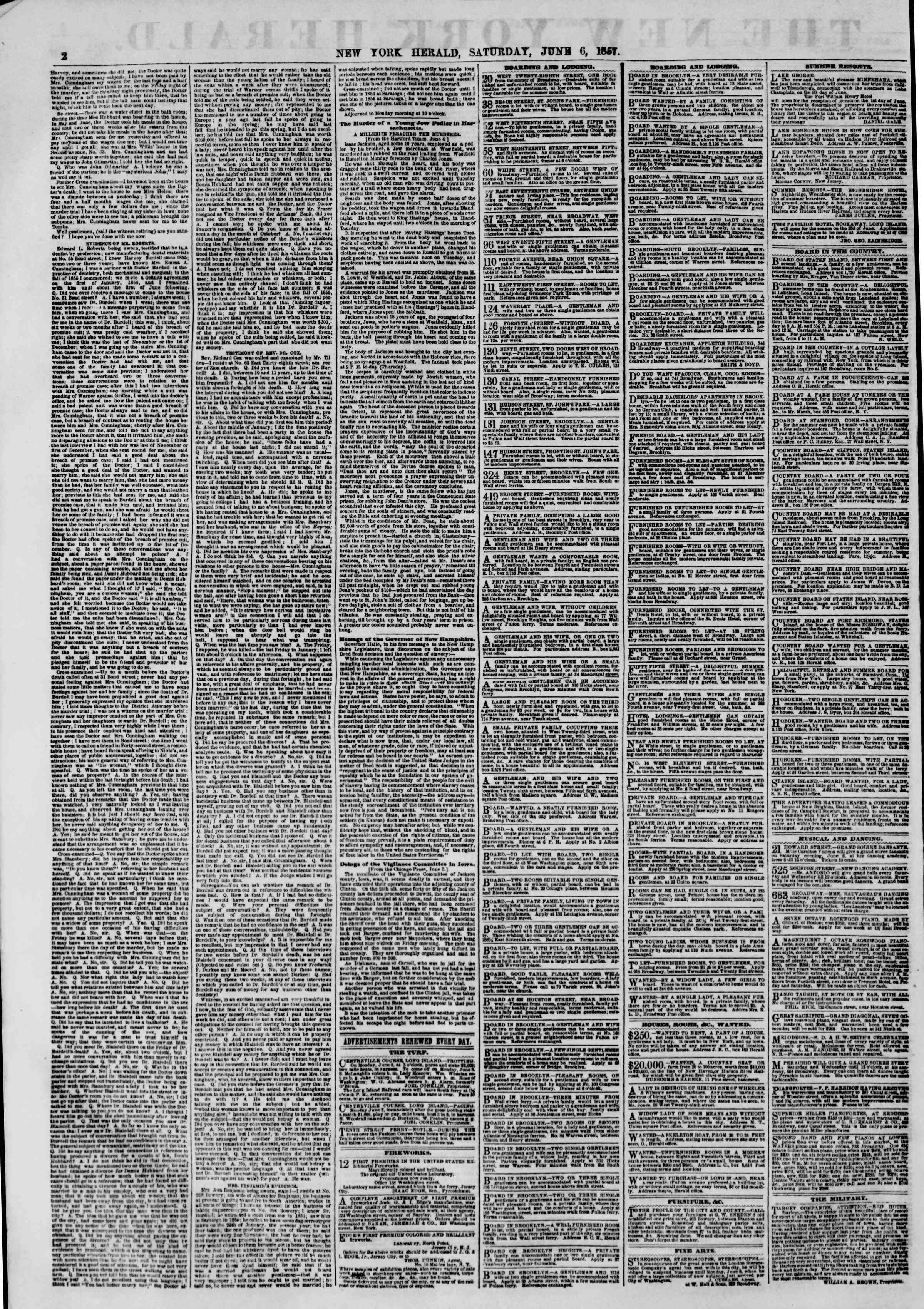 Newspaper of The New York Herald dated June 6, 1857 Page 2