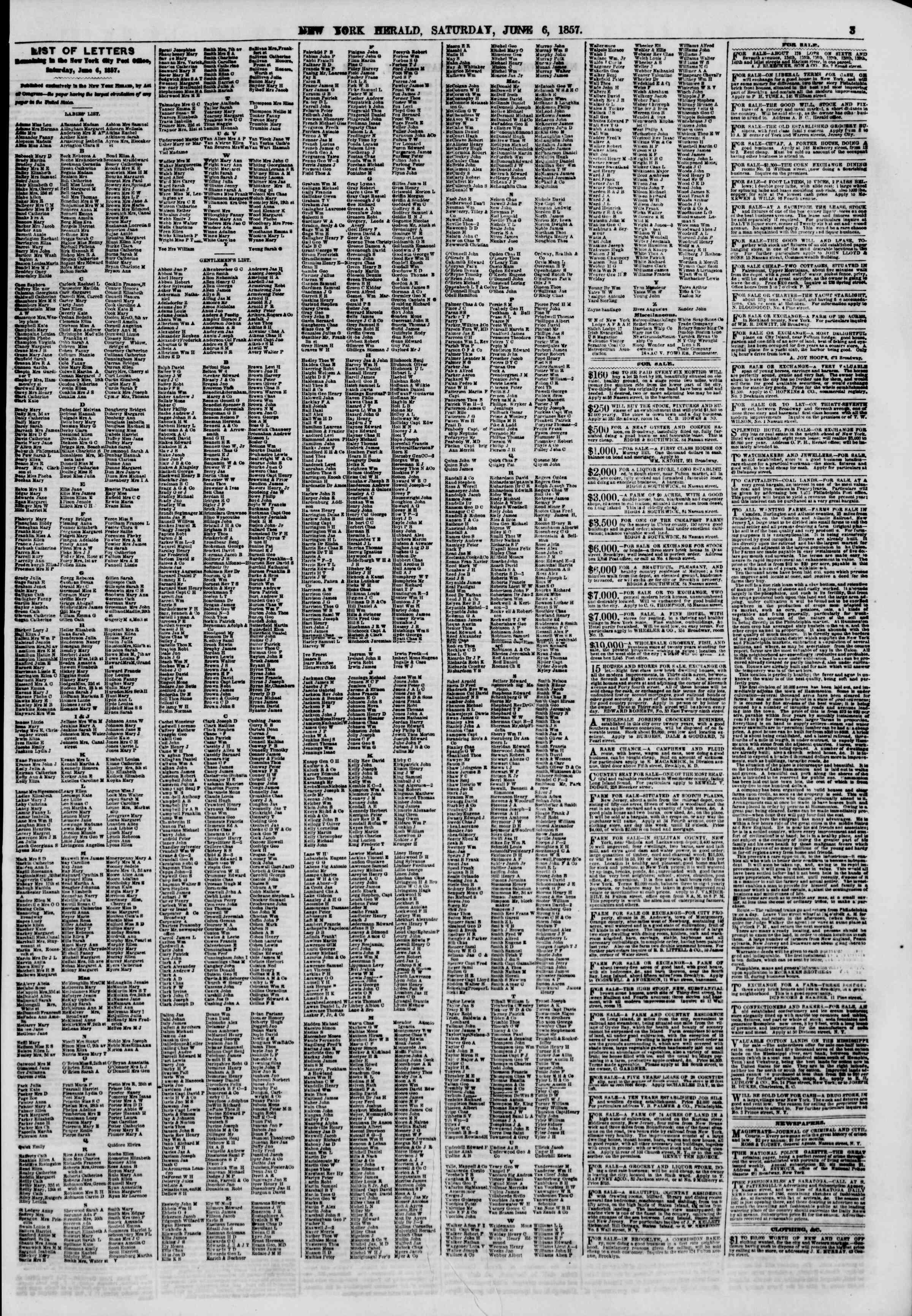 Newspaper of The New York Herald dated June 6, 1857 Page 3