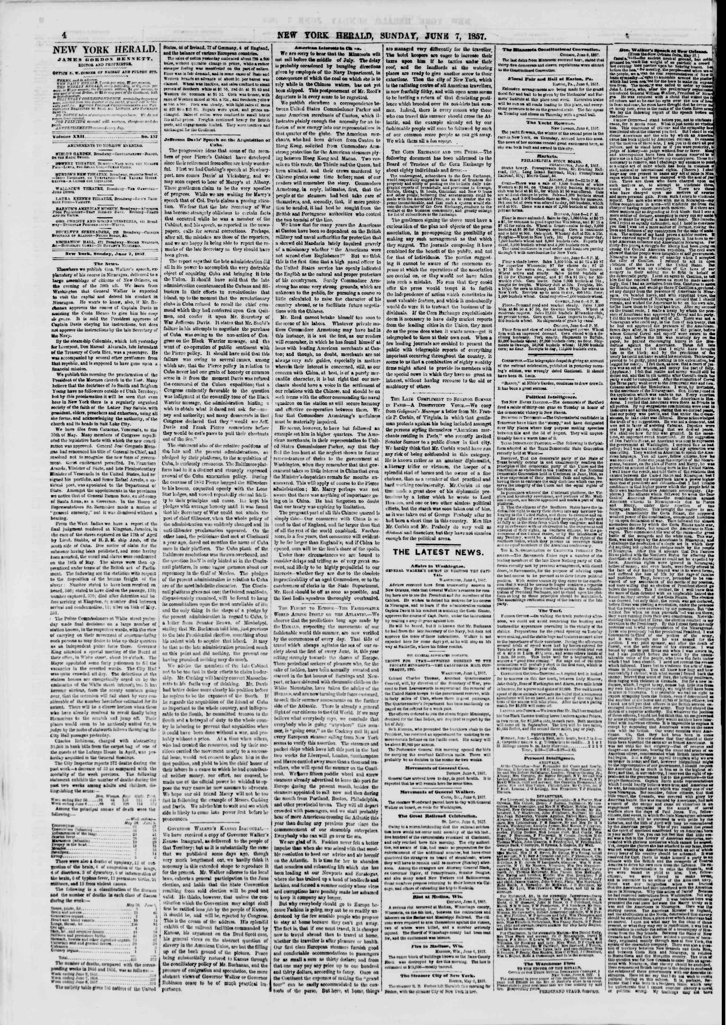 Newspaper of The New York Herald dated June 7, 1857 Page 4