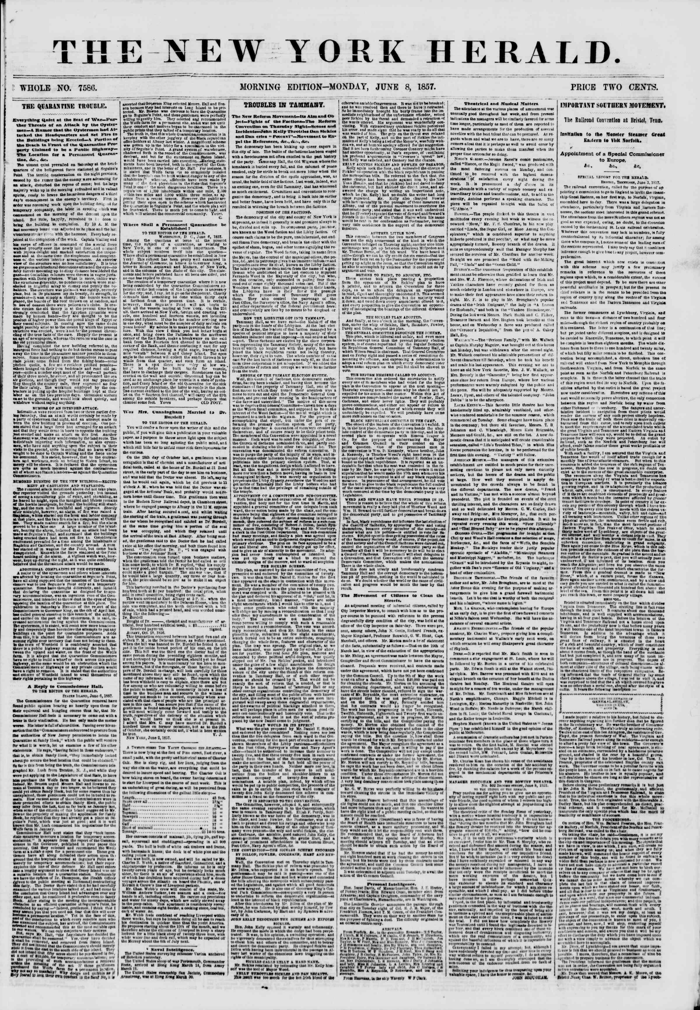 Newspaper of The New York Herald dated June 8, 1857 Page 1