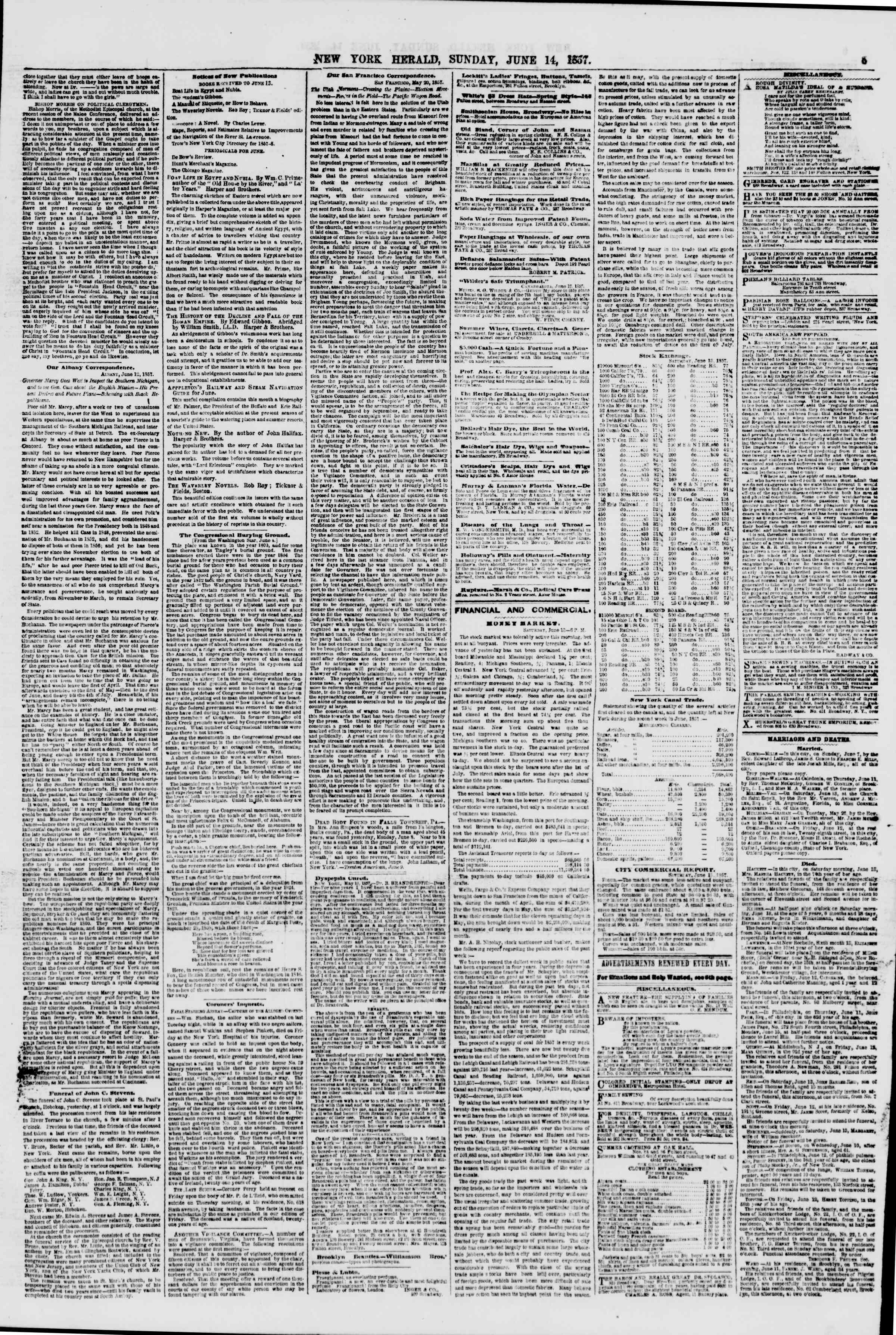 Newspaper of The New York Herald dated June 14, 1857 Page 5