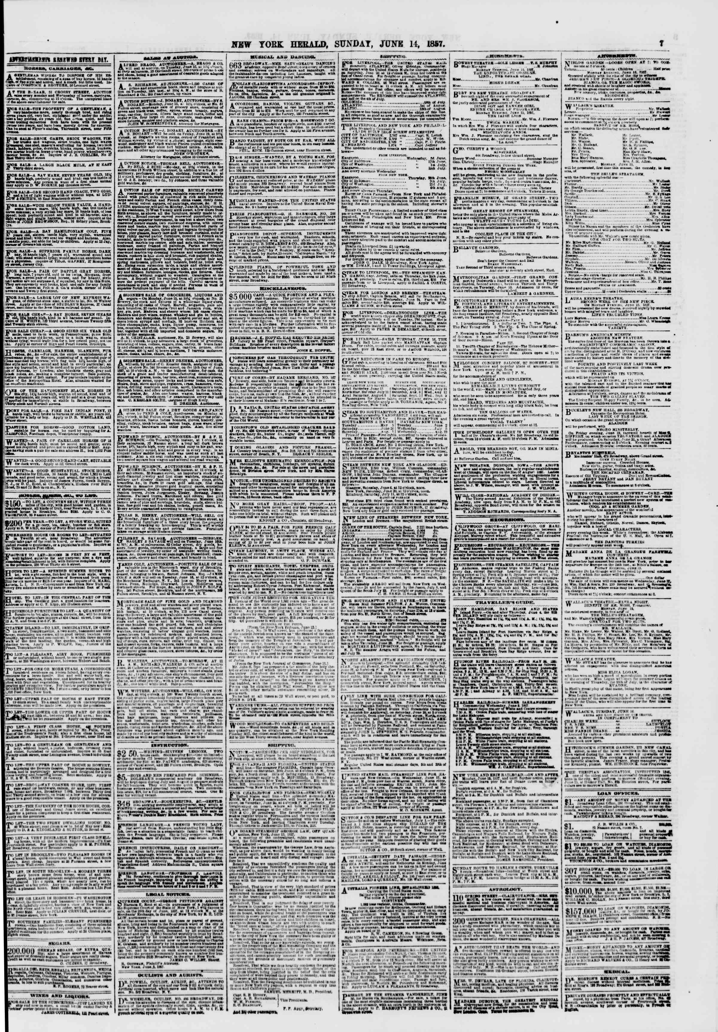 Newspaper of The New York Herald dated June 14, 1857 Page 7