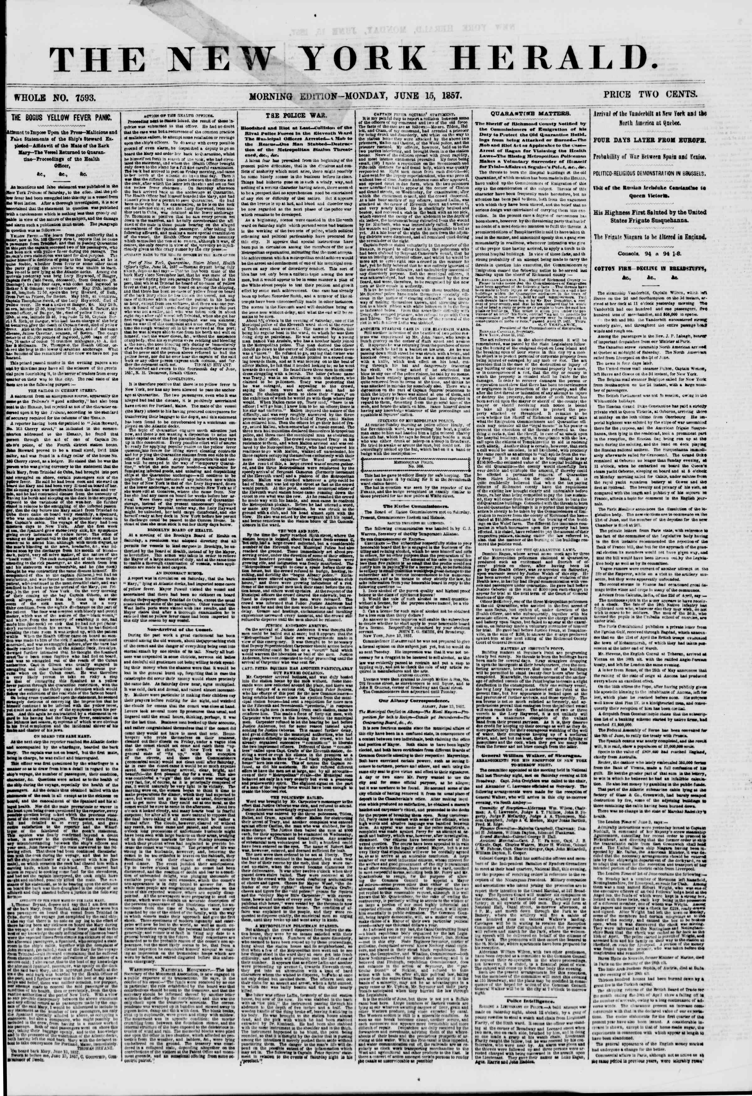 Newspaper of The New York Herald dated June 15, 1857 Page 1