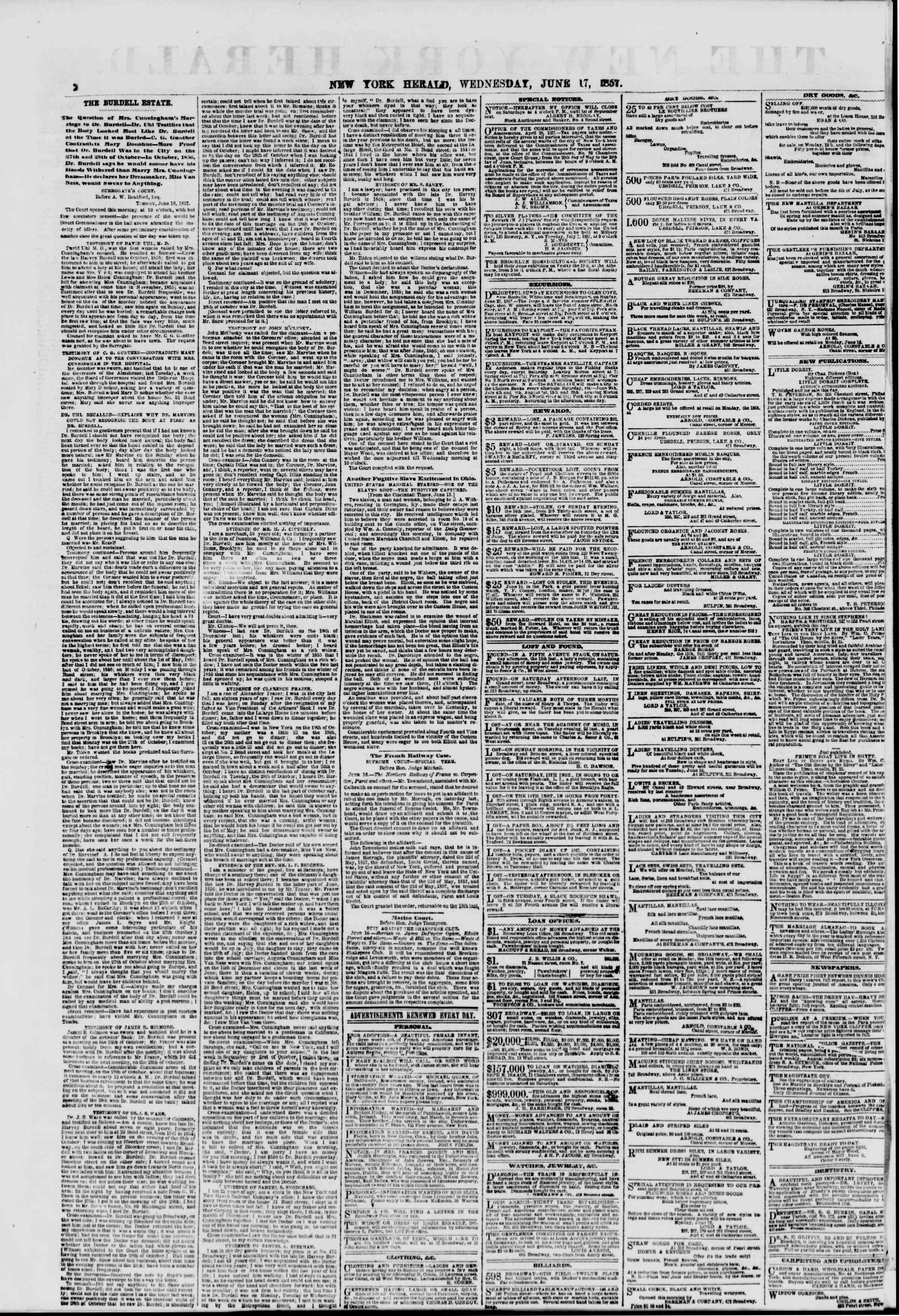 Newspaper of The New York Herald dated June 17, 1857 Page 2
