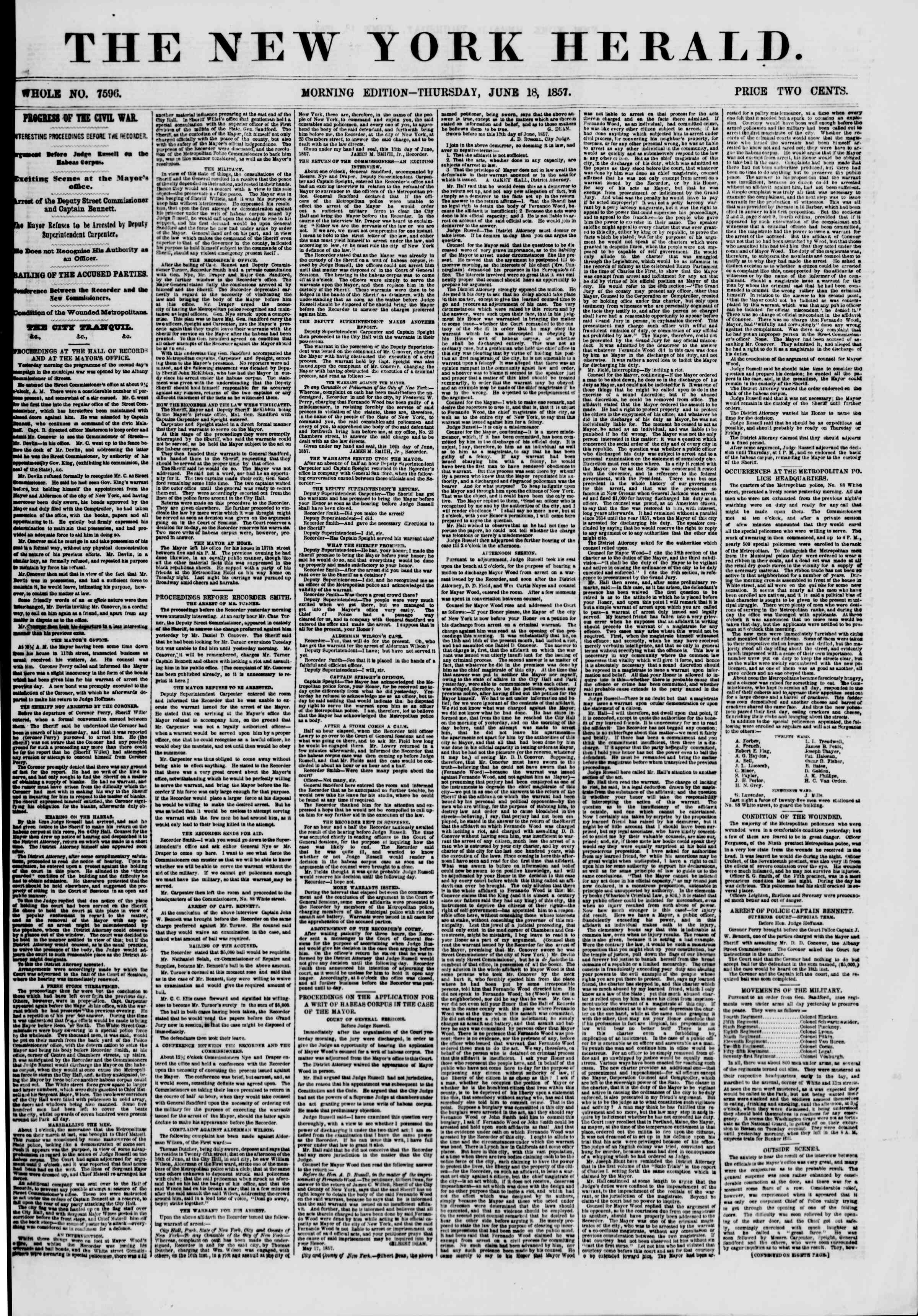 Newspaper of The New York Herald dated June 18, 1857 Page 1