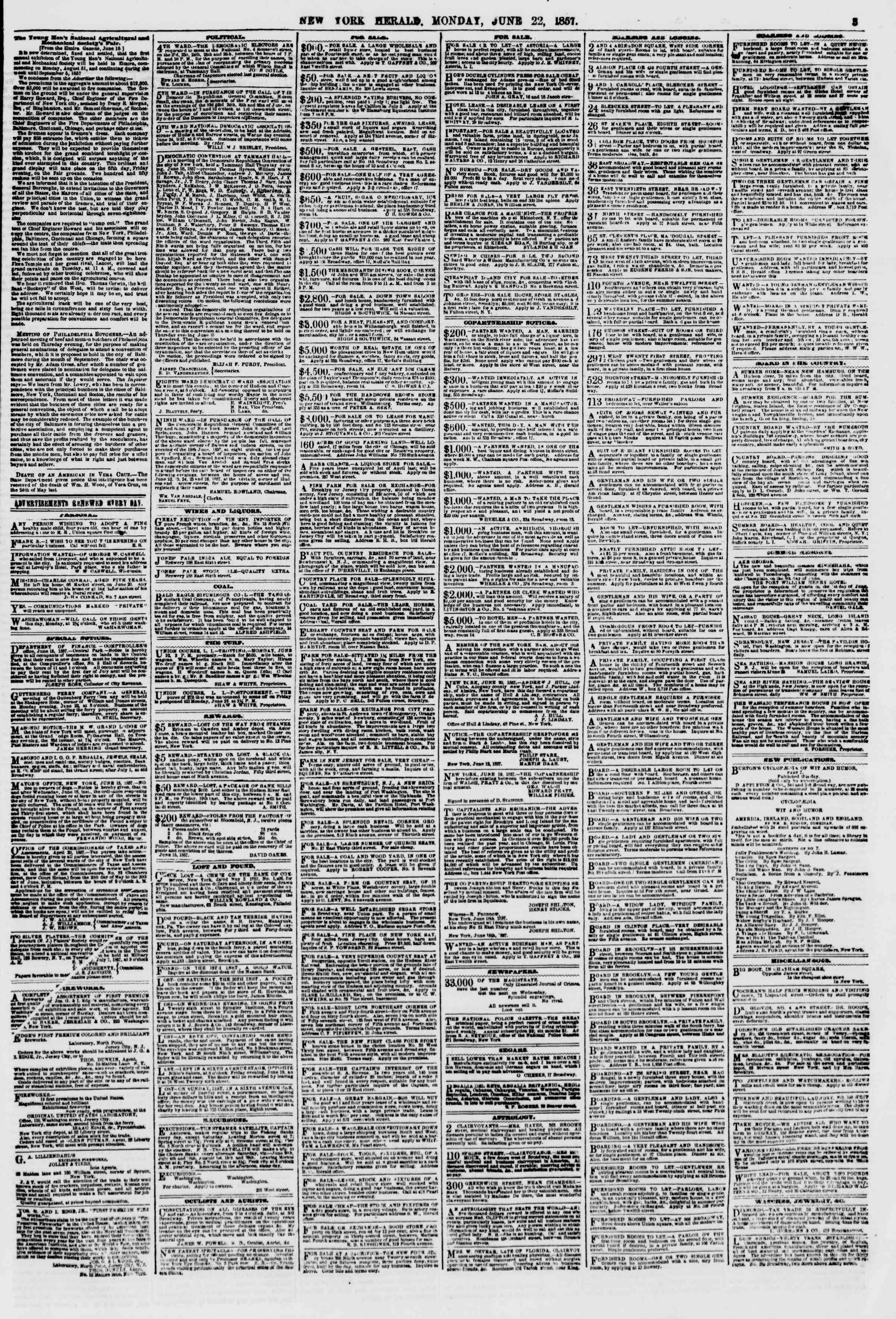 Newspaper of The New York Herald dated June 22, 1857 Page 3