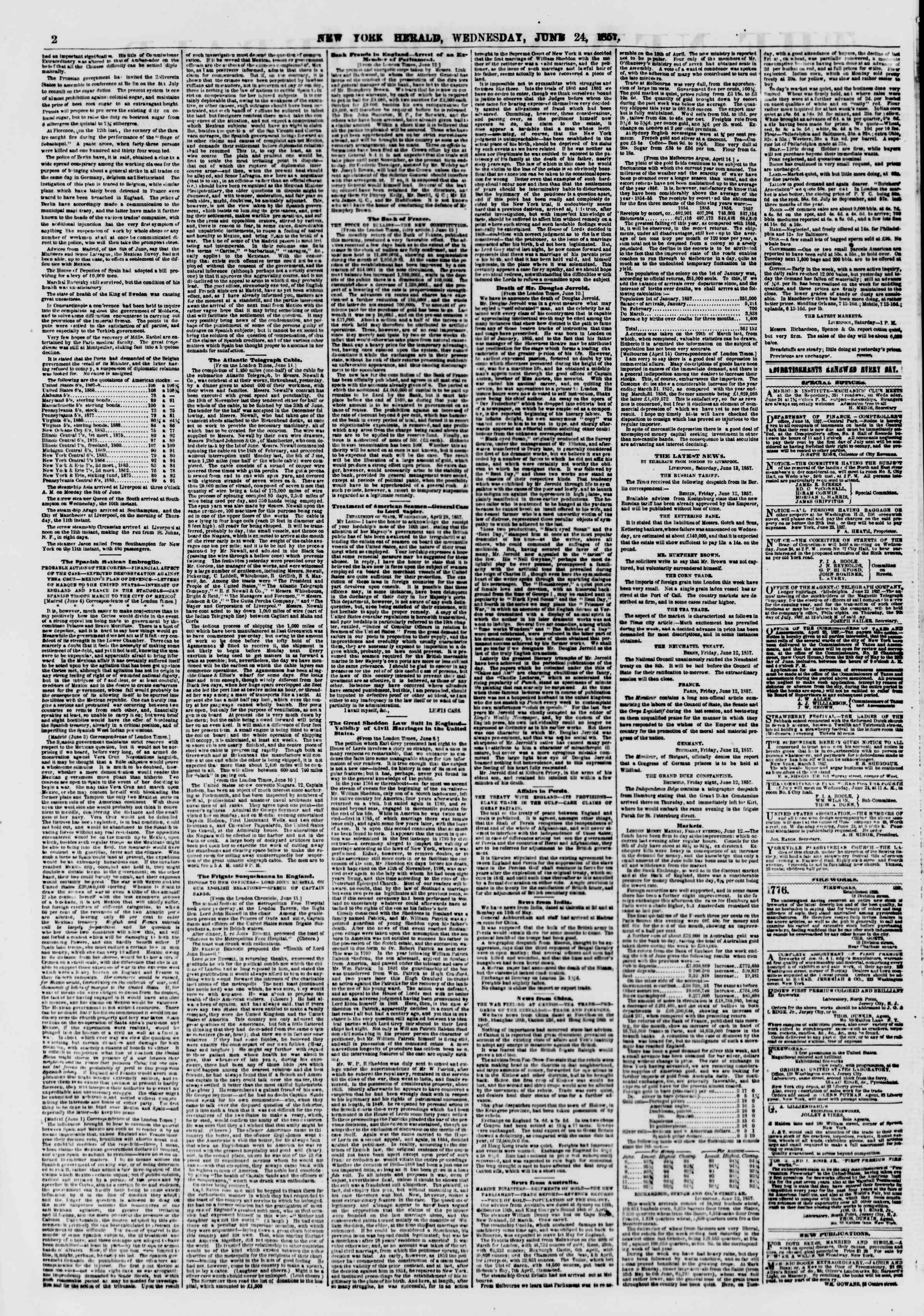 Newspaper of The New York Herald dated June 24, 1857 Page 2
