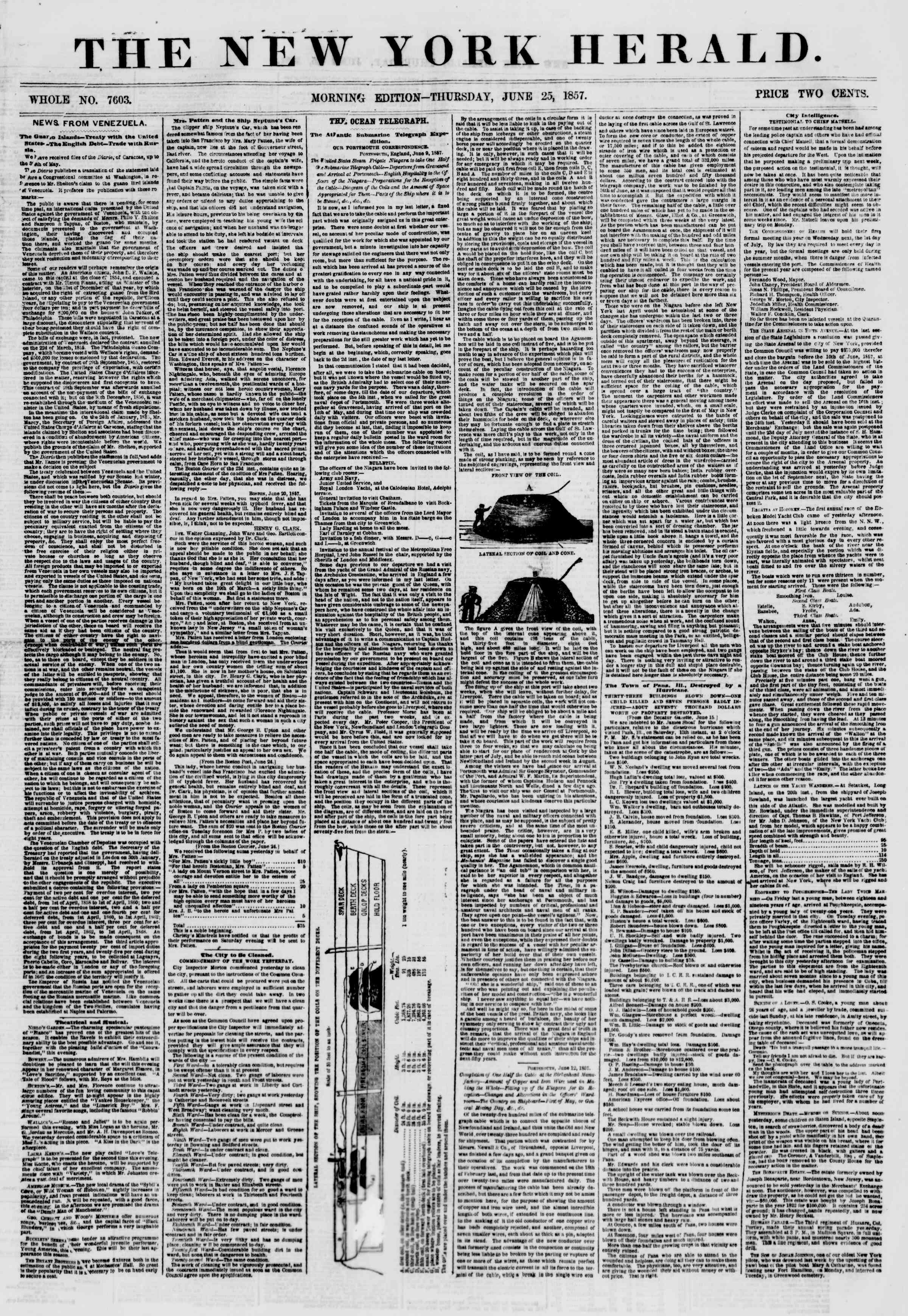Newspaper of The New York Herald dated June 25, 1857 Page 1