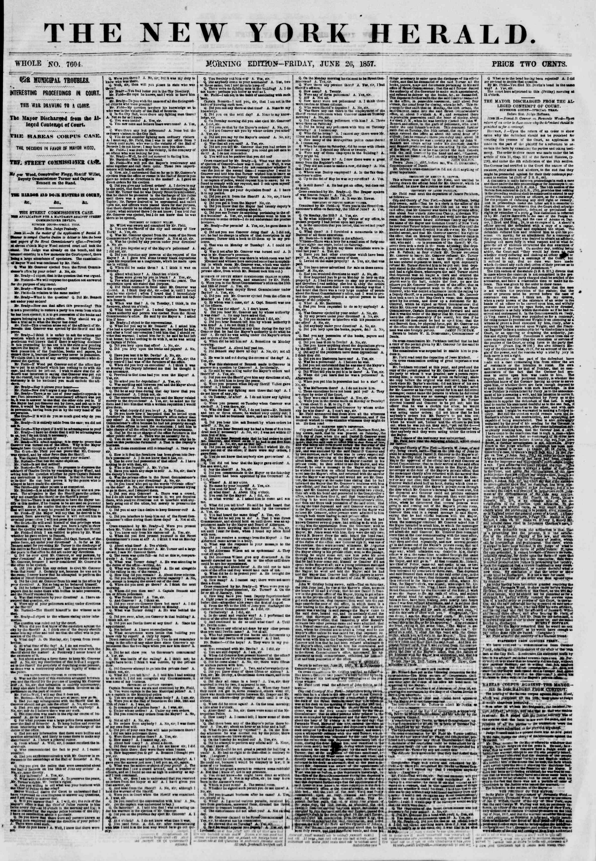 Newspaper of The New York Herald dated June 26, 1857 Page 1