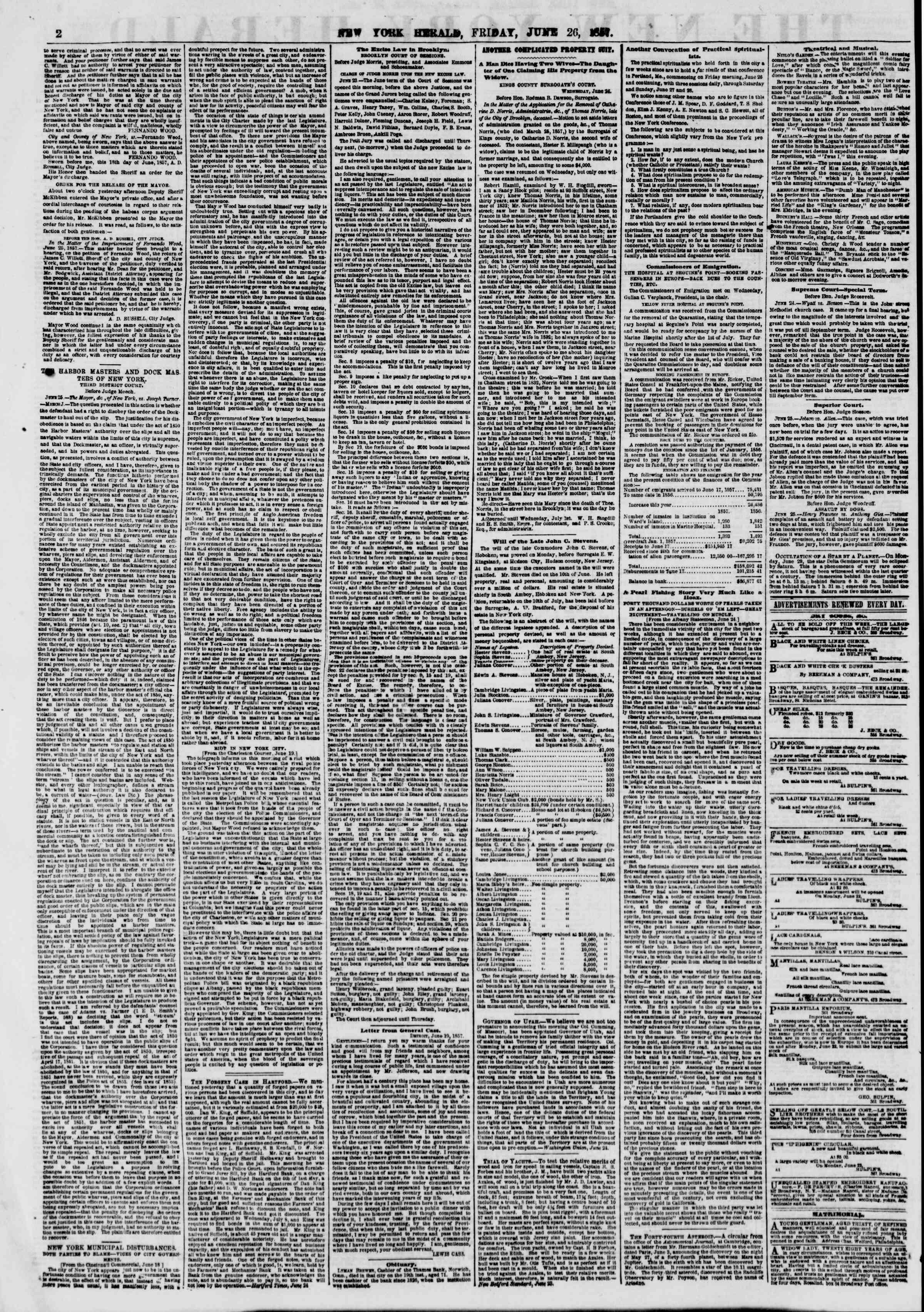 Newspaper of The New York Herald dated June 26, 1857 Page 2