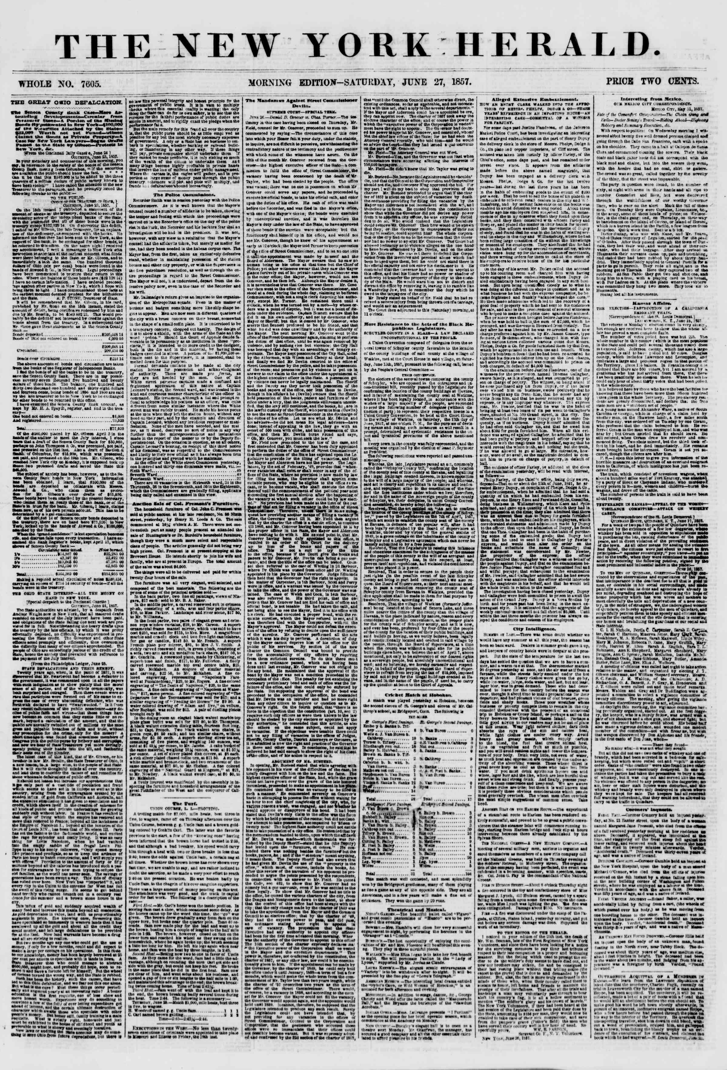 Newspaper of The New York Herald dated June 27, 1857 Page 1