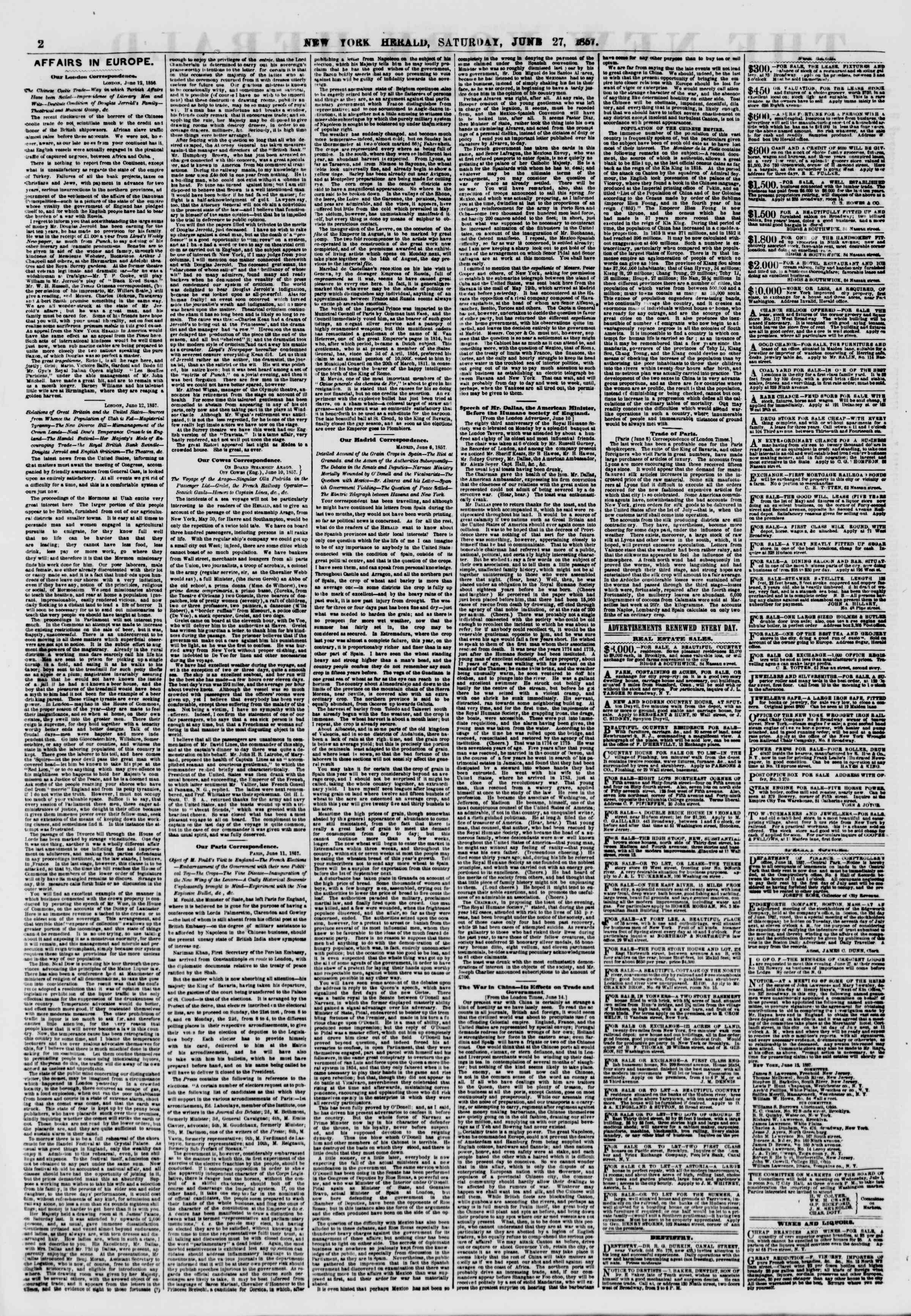 Newspaper of The New York Herald dated June 27, 1857 Page 2