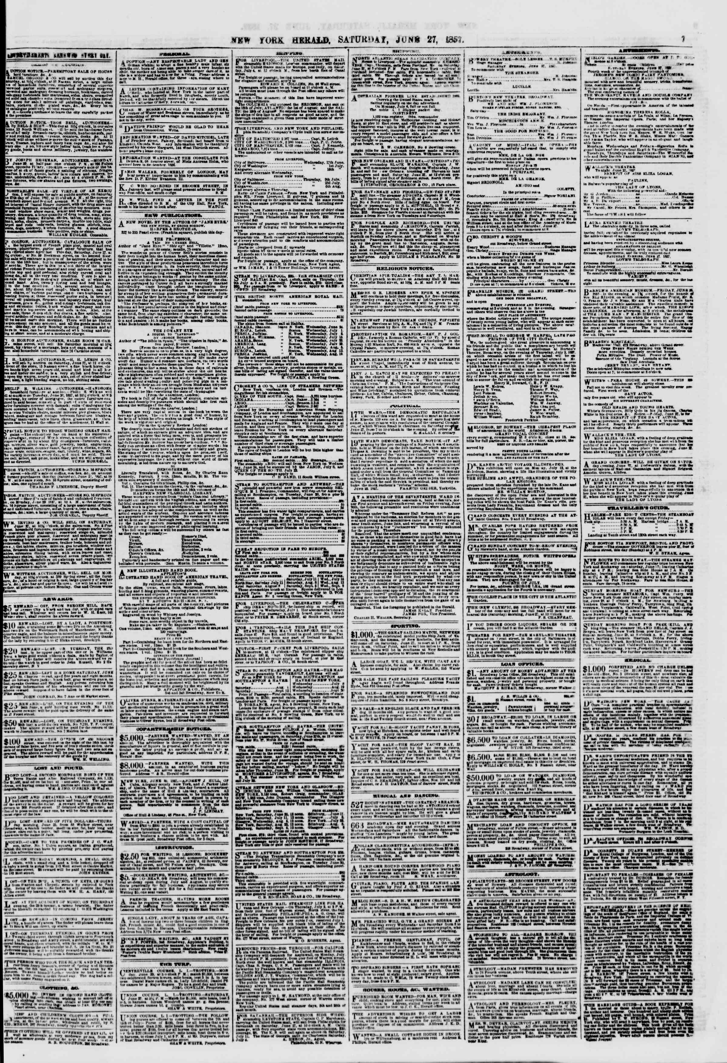 Newspaper of The New York Herald dated June 27, 1857 Page 7