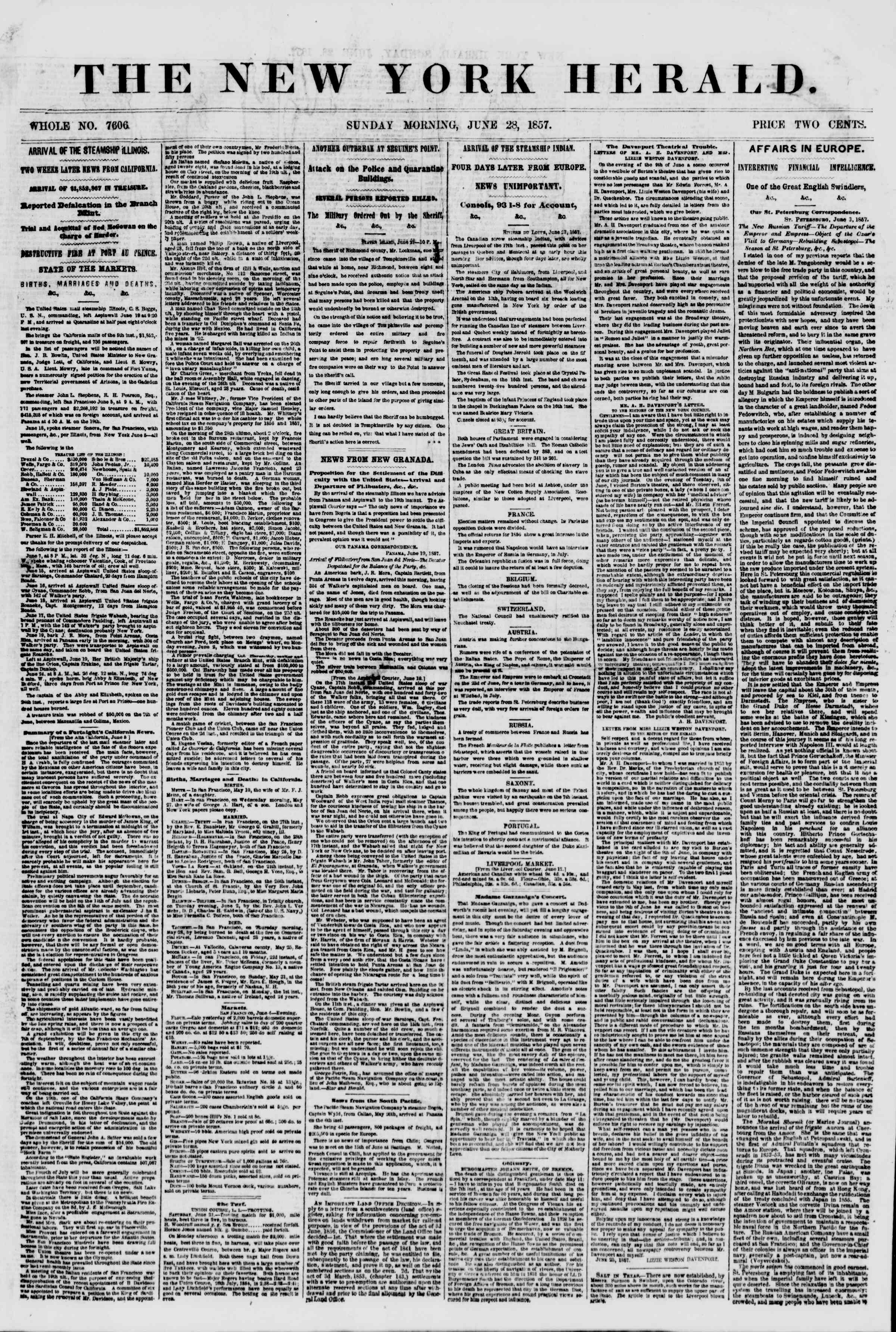 Newspaper of The New York Herald dated June 28, 1857 Page 1