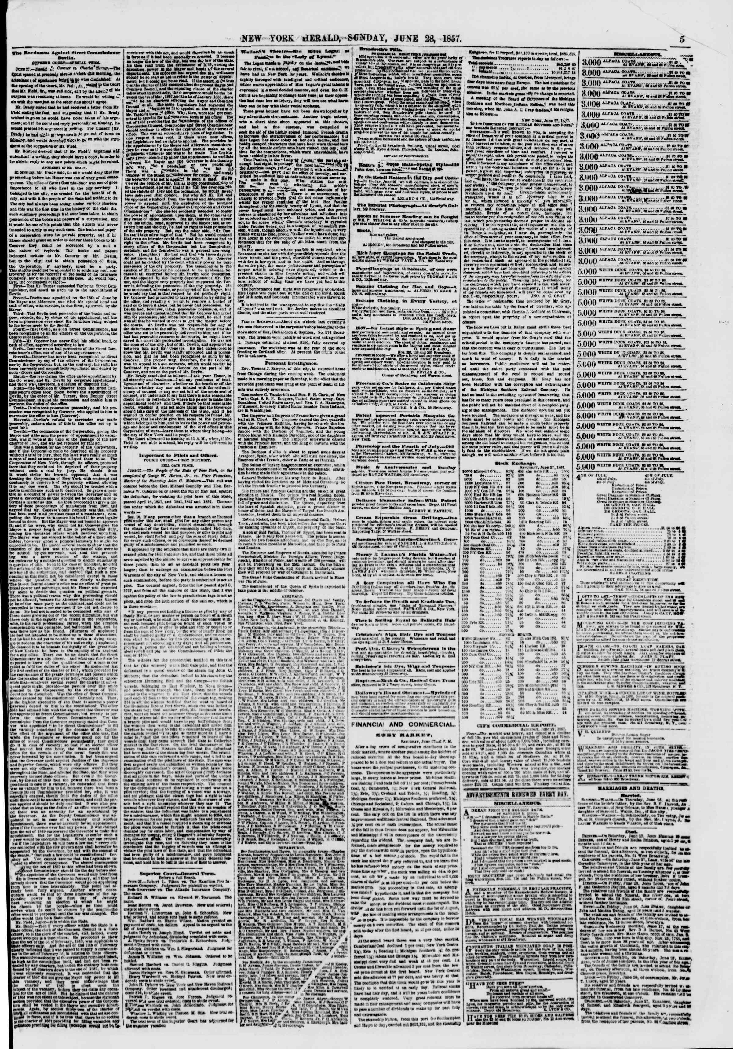 Newspaper of The New York Herald dated June 28, 1857 Page 7
