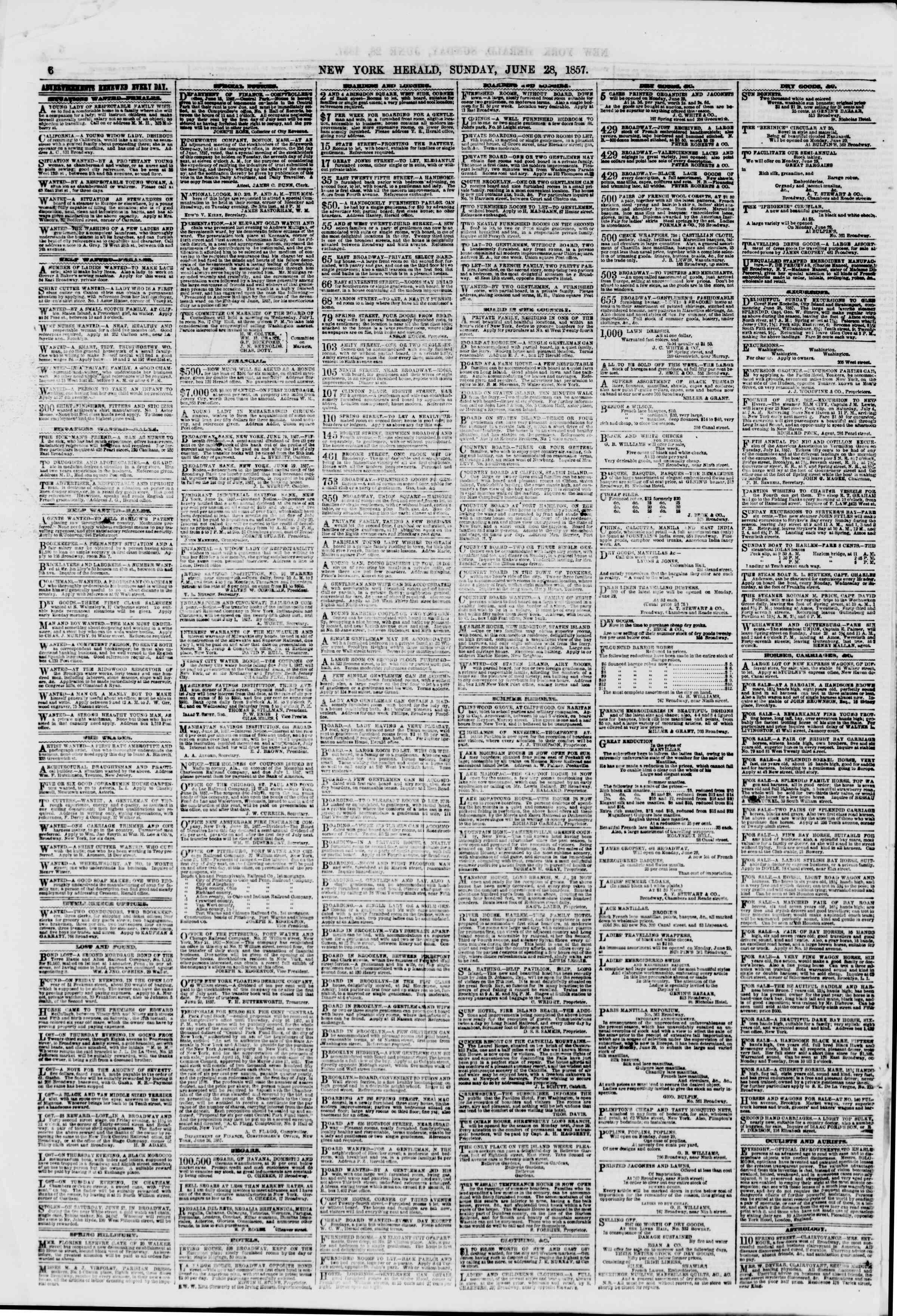 Newspaper of The New York Herald dated 28 Haziran 1857 Page 8