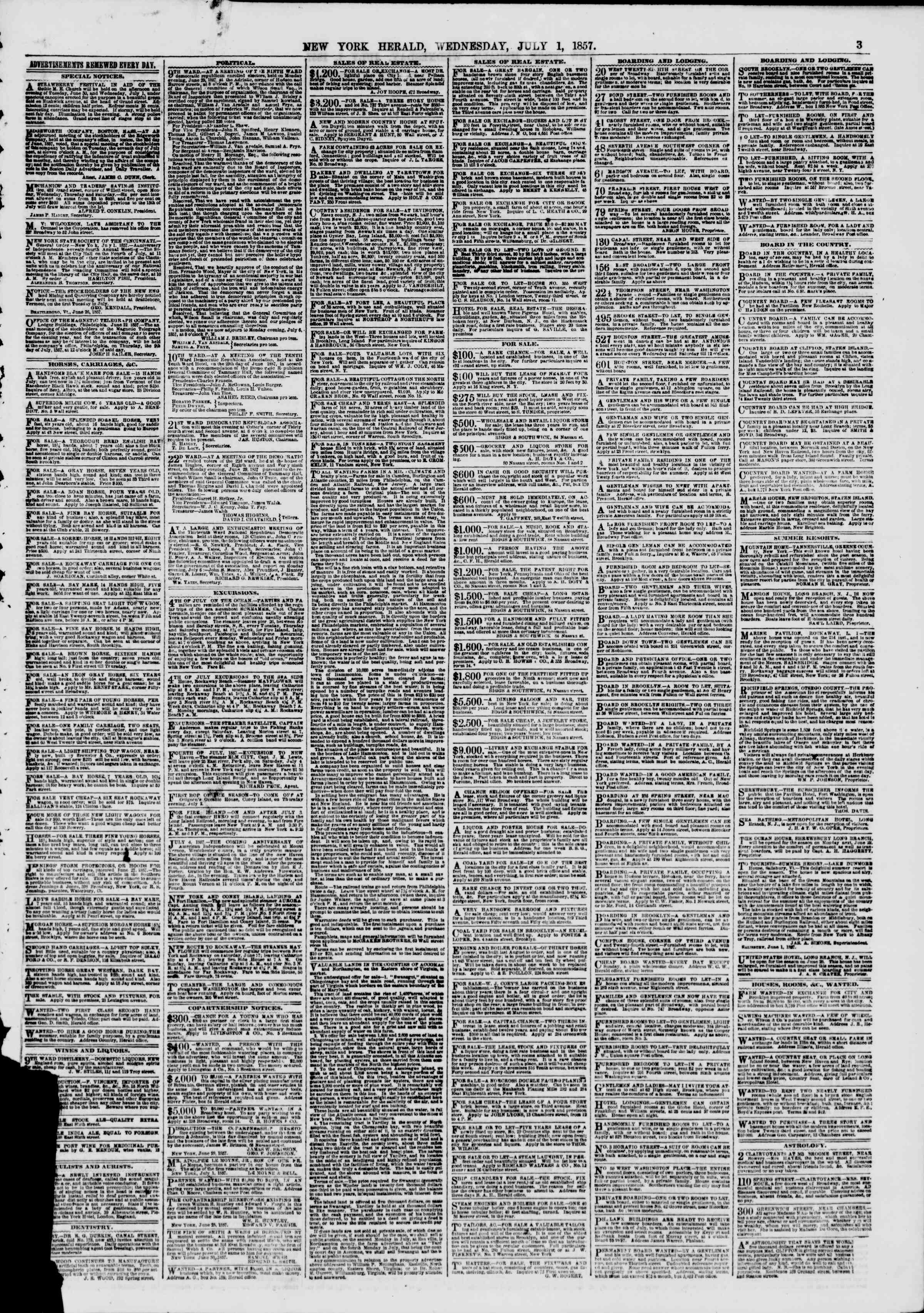 Newspaper of The New York Herald dated July 1, 1857 Page 3