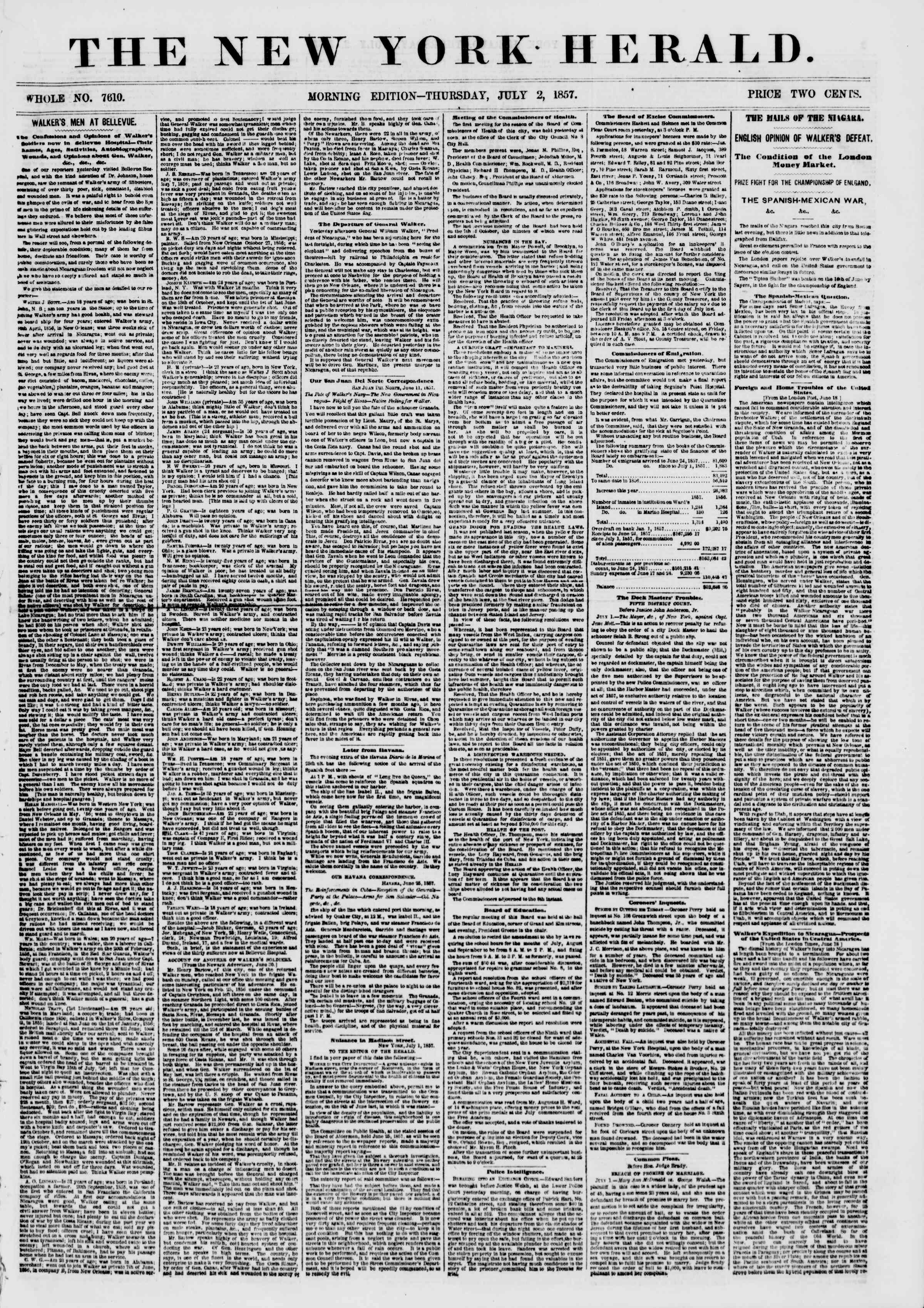 Newspaper of The New York Herald dated July 2, 1857 Page 1