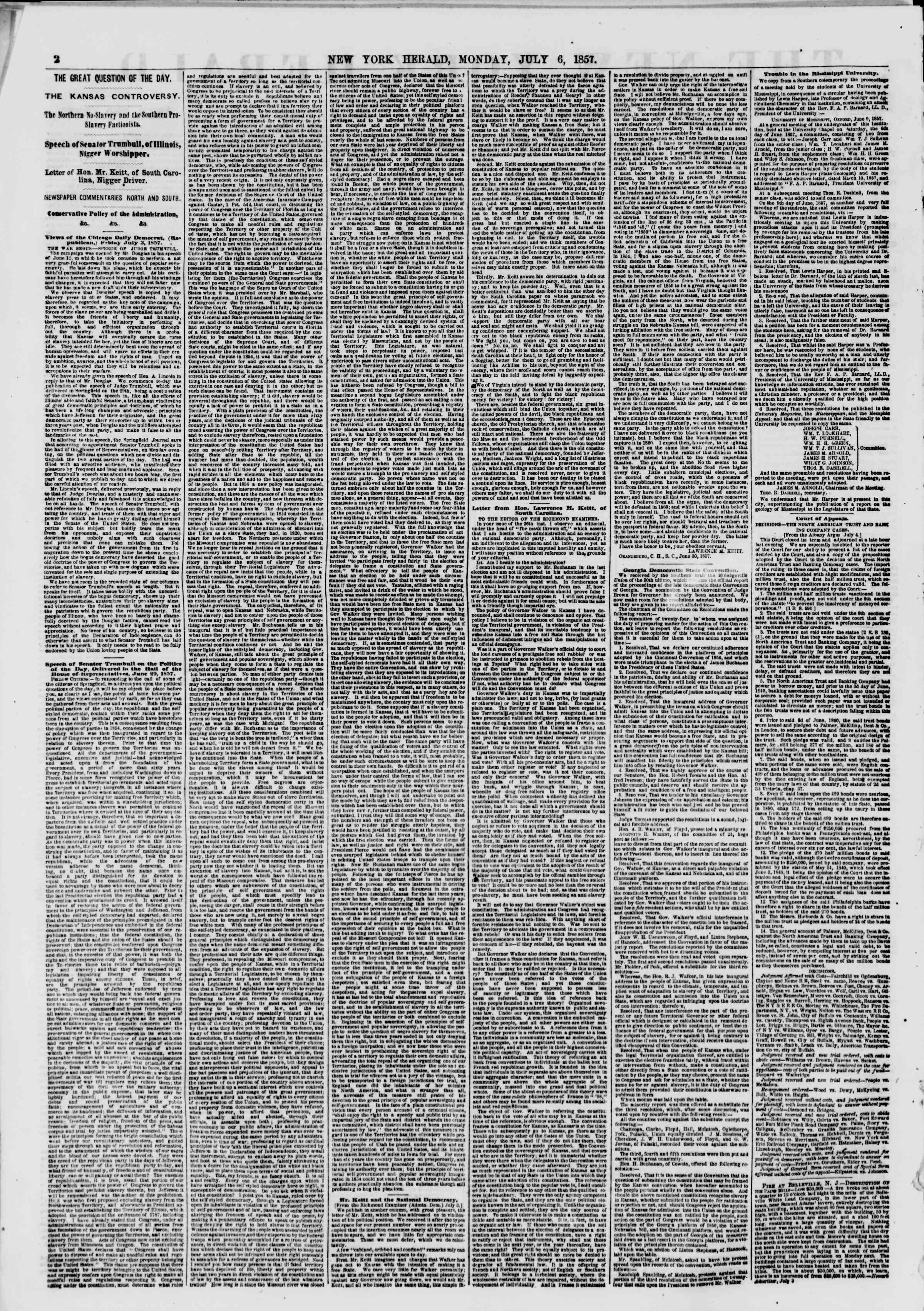 Newspaper of The New York Herald dated July 6, 1857 Page 2