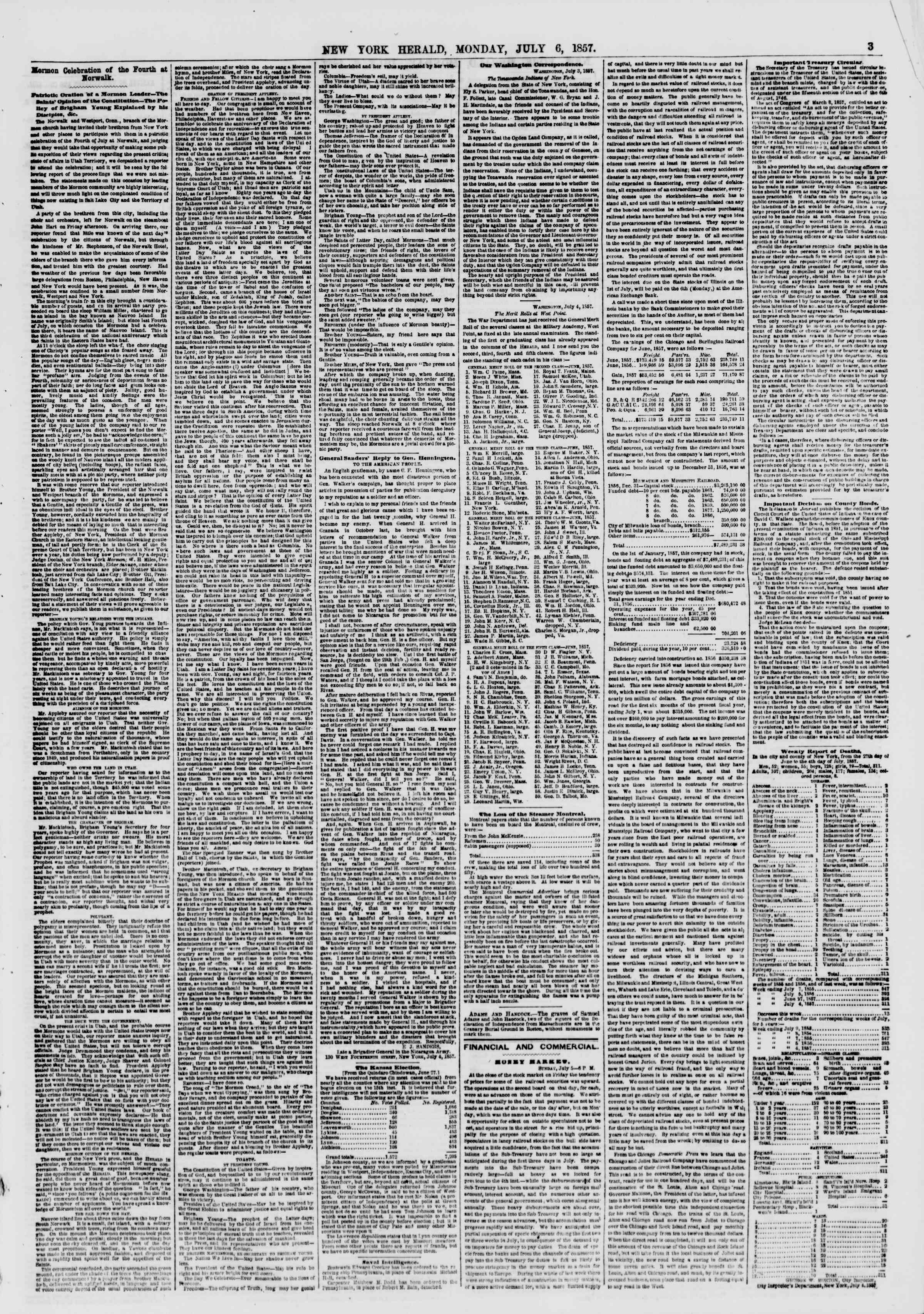 Newspaper of The New York Herald dated July 6, 1857 Page 3