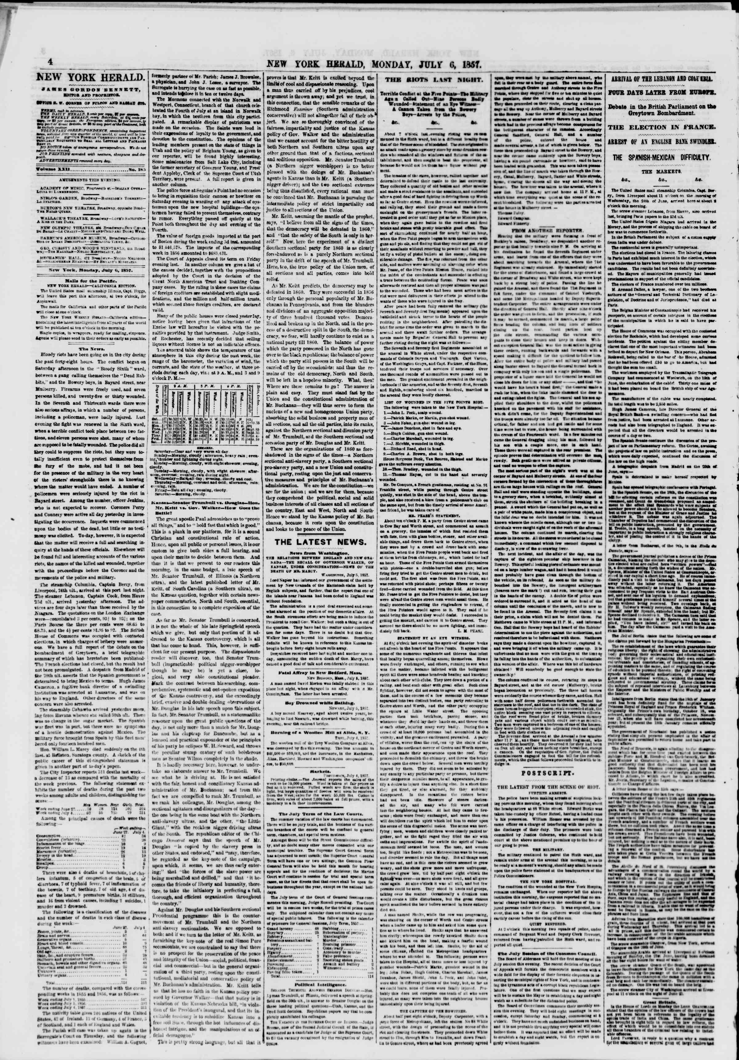 Newspaper of The New York Herald dated July 6, 1857 Page 4
