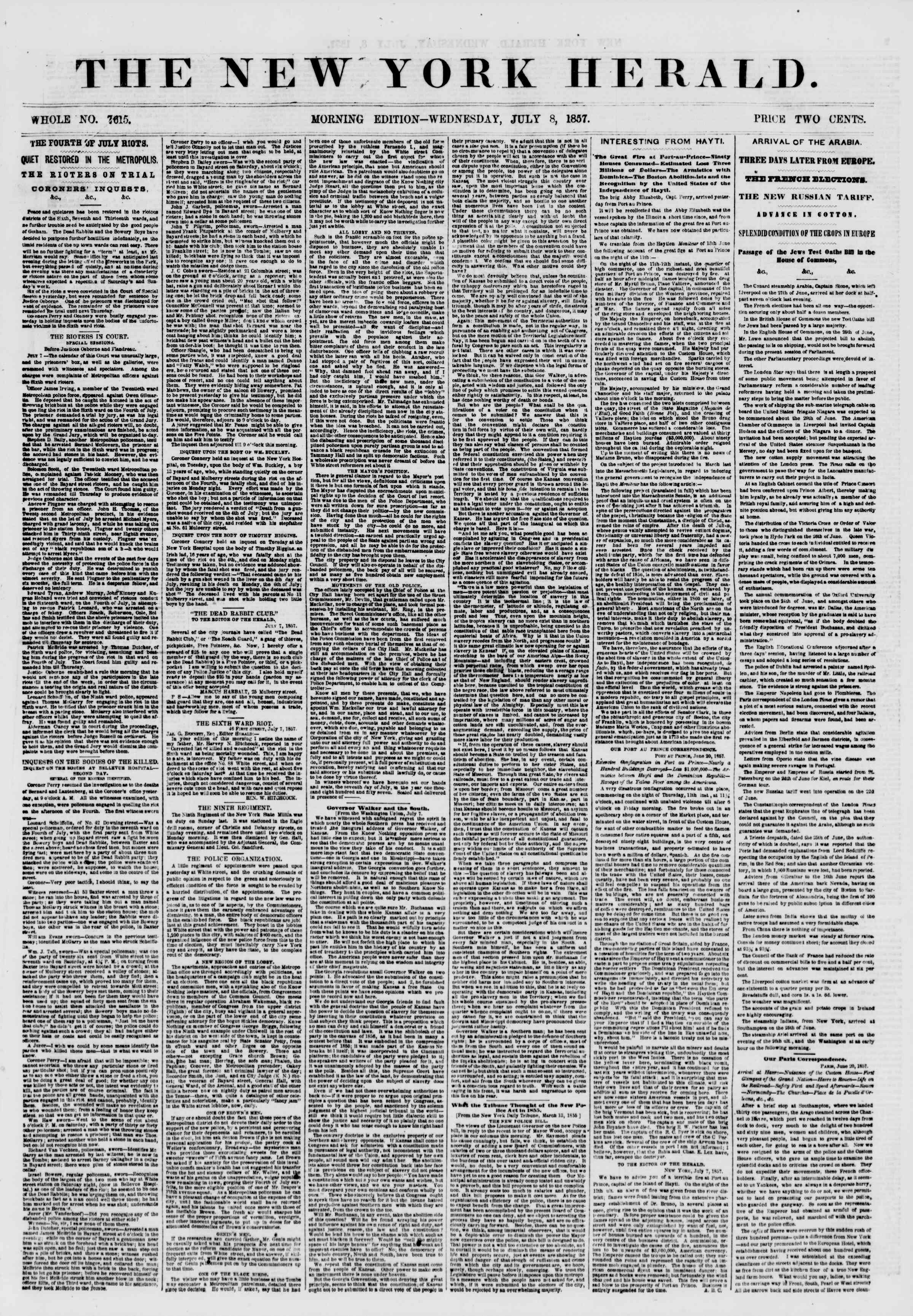 Newspaper of The New York Herald dated July 8, 1857 Page 1