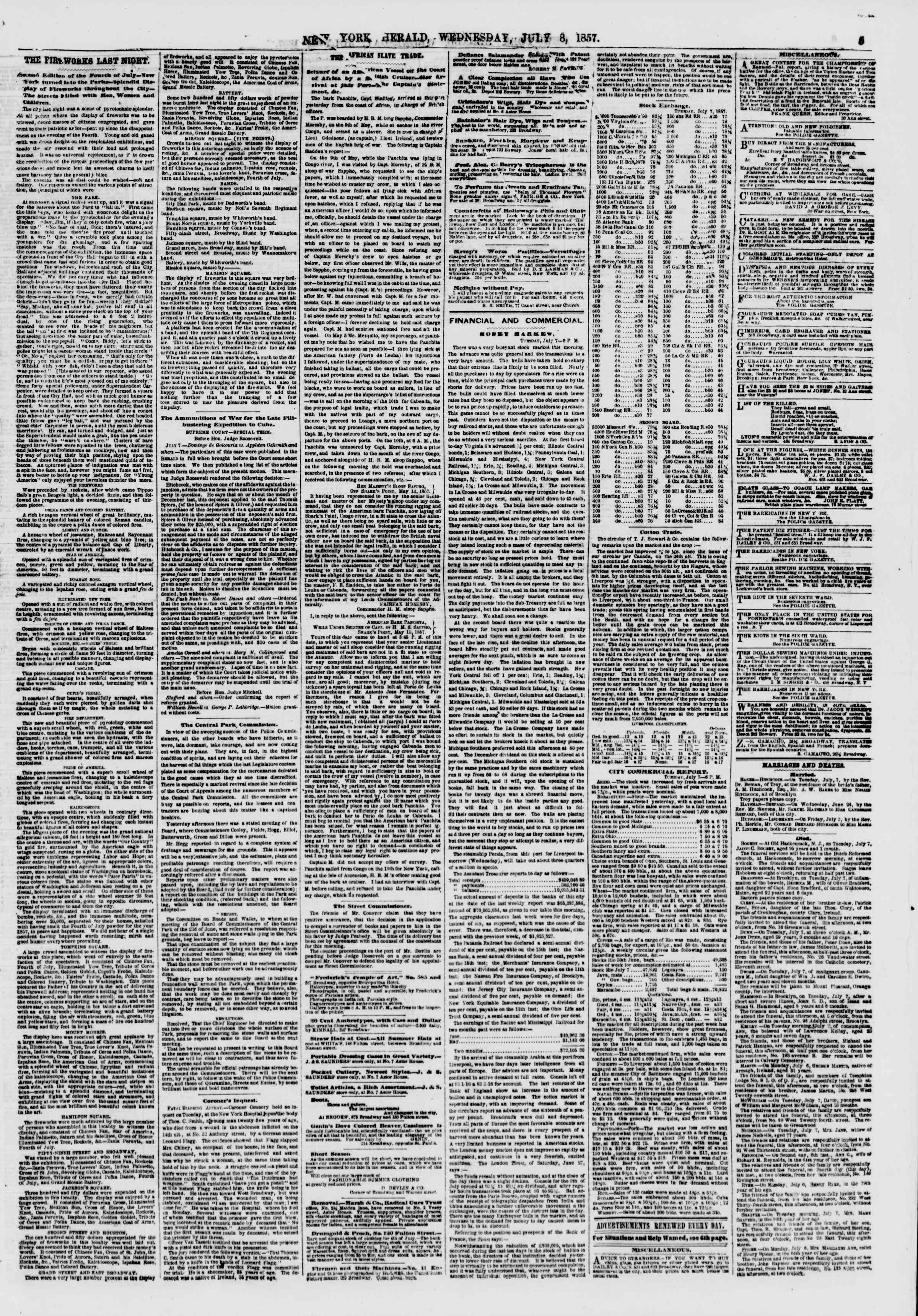 Newspaper of The New York Herald dated July 8, 1857 Page 5