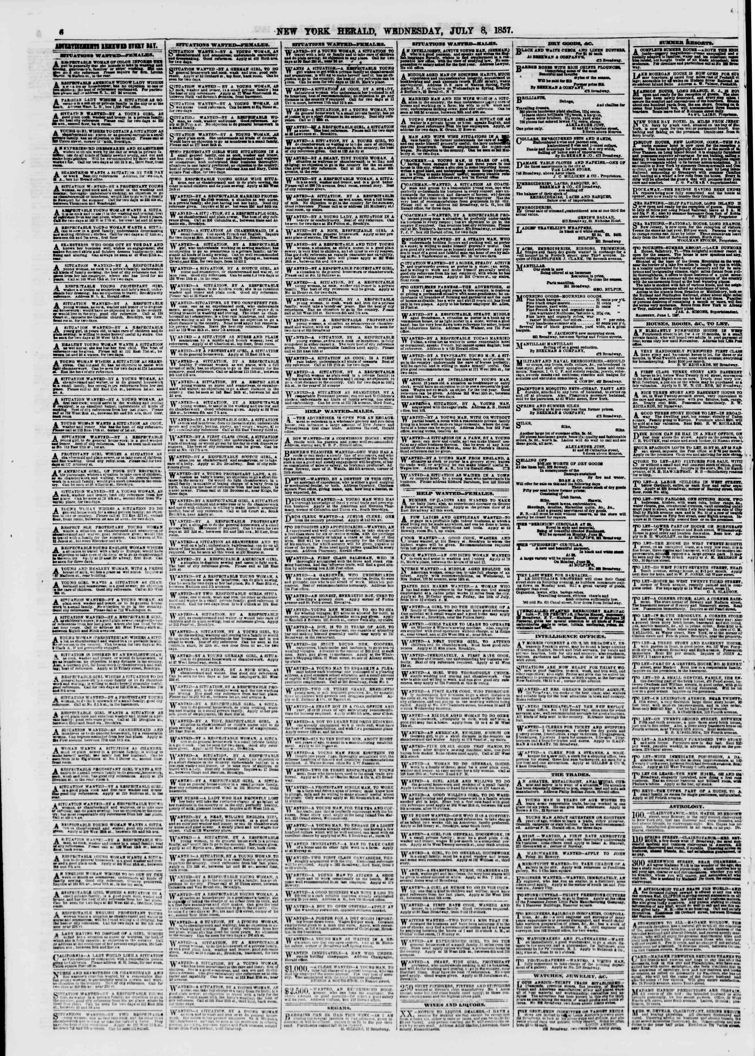 Newspaper of The New York Herald dated July 8, 1857 Page 6