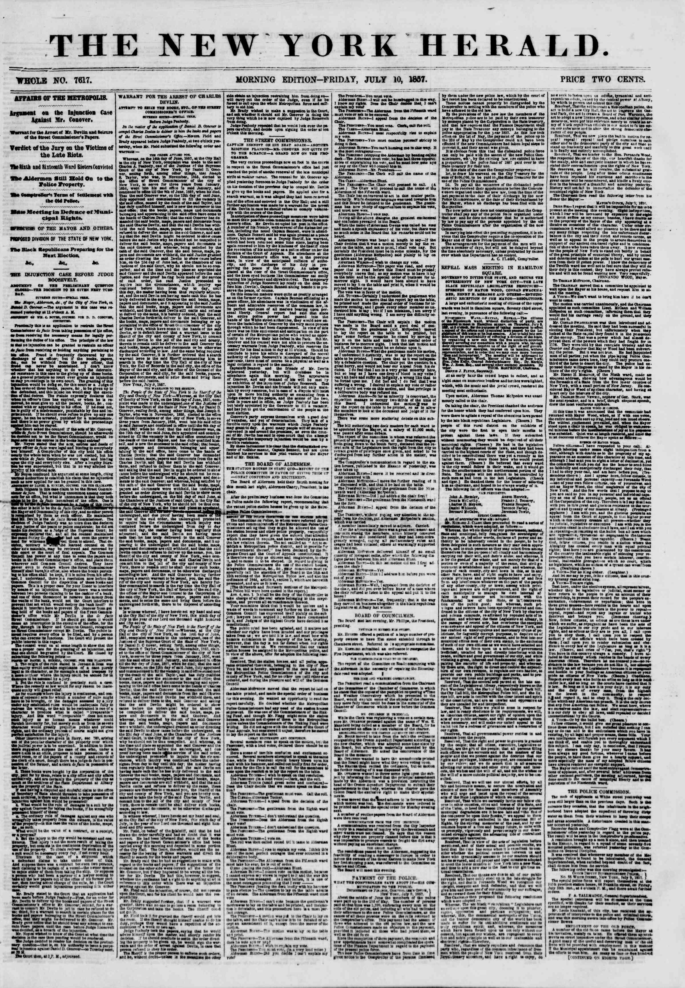 Newspaper of The New York Herald dated July 10, 1857 Page 1