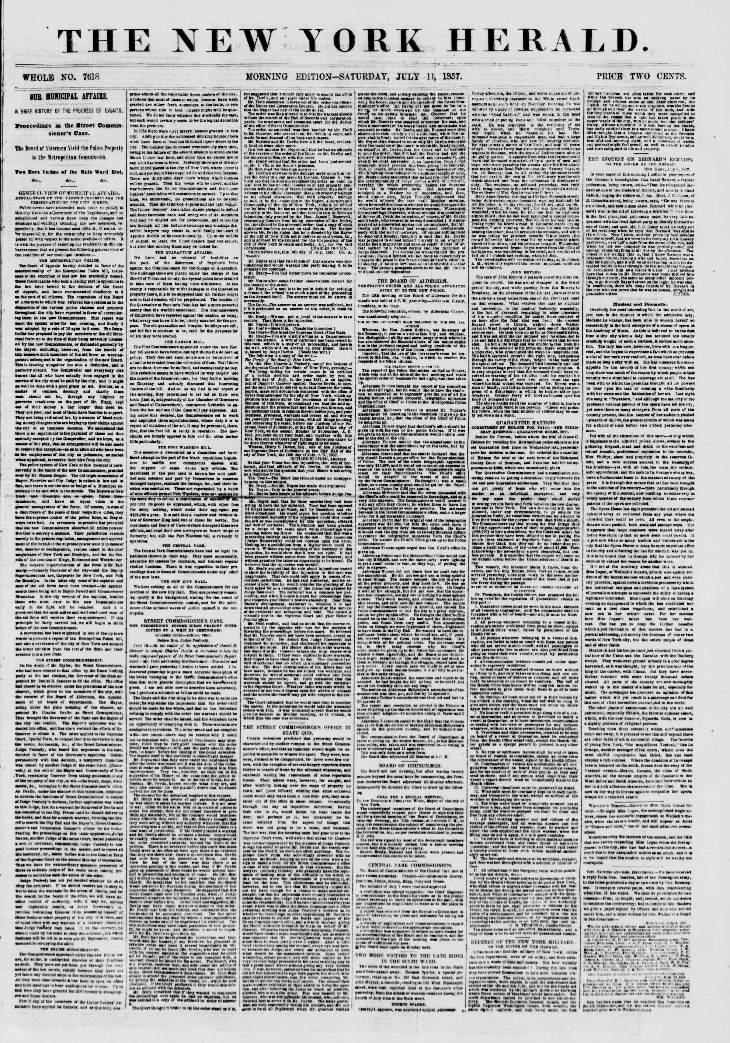 Newspaper of The New York Herald dated July 11, 1857 Page 1