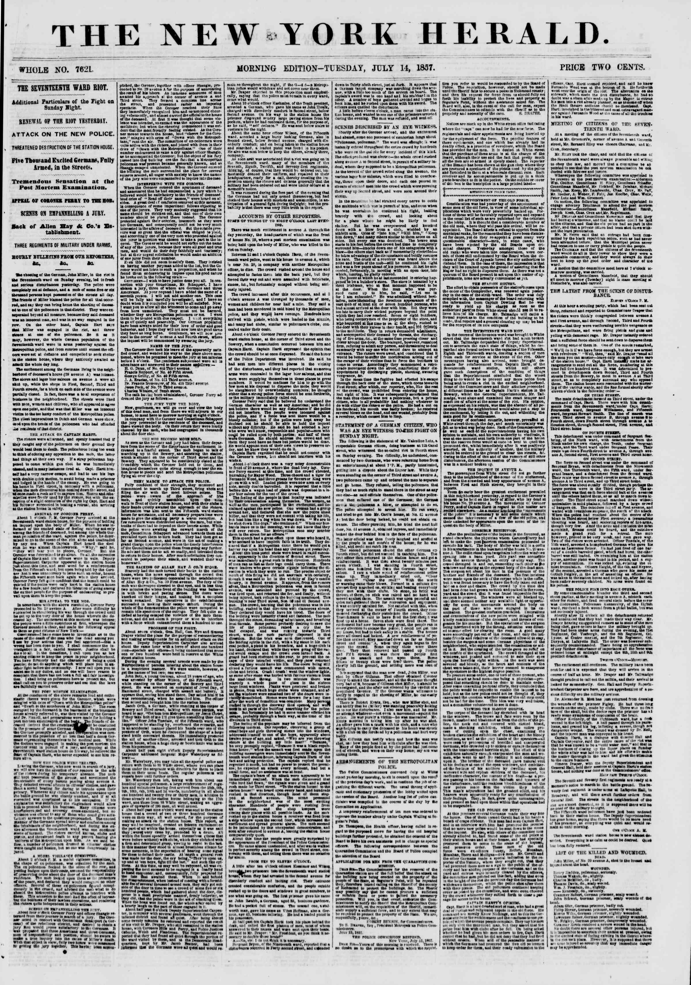 Newspaper of The New York Herald dated July 14, 1857 Page 1