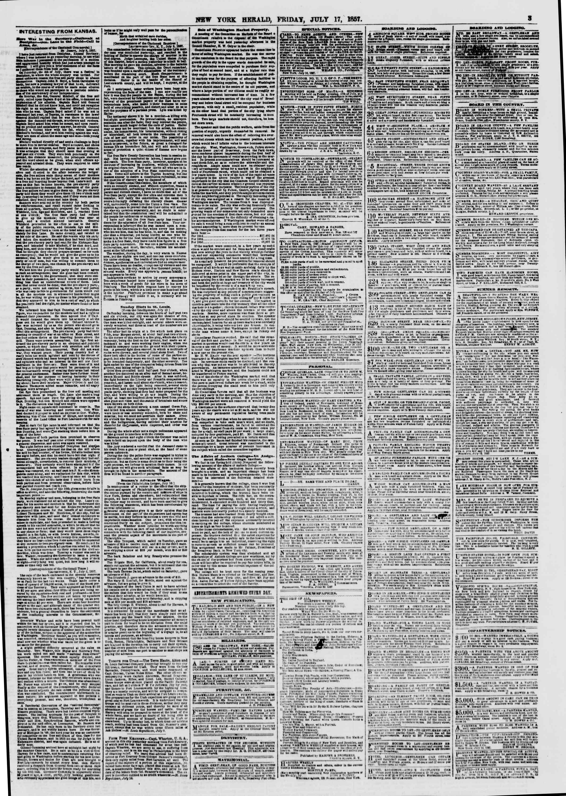 Newspaper of The New York Herald dated July 17, 1857 Page 3