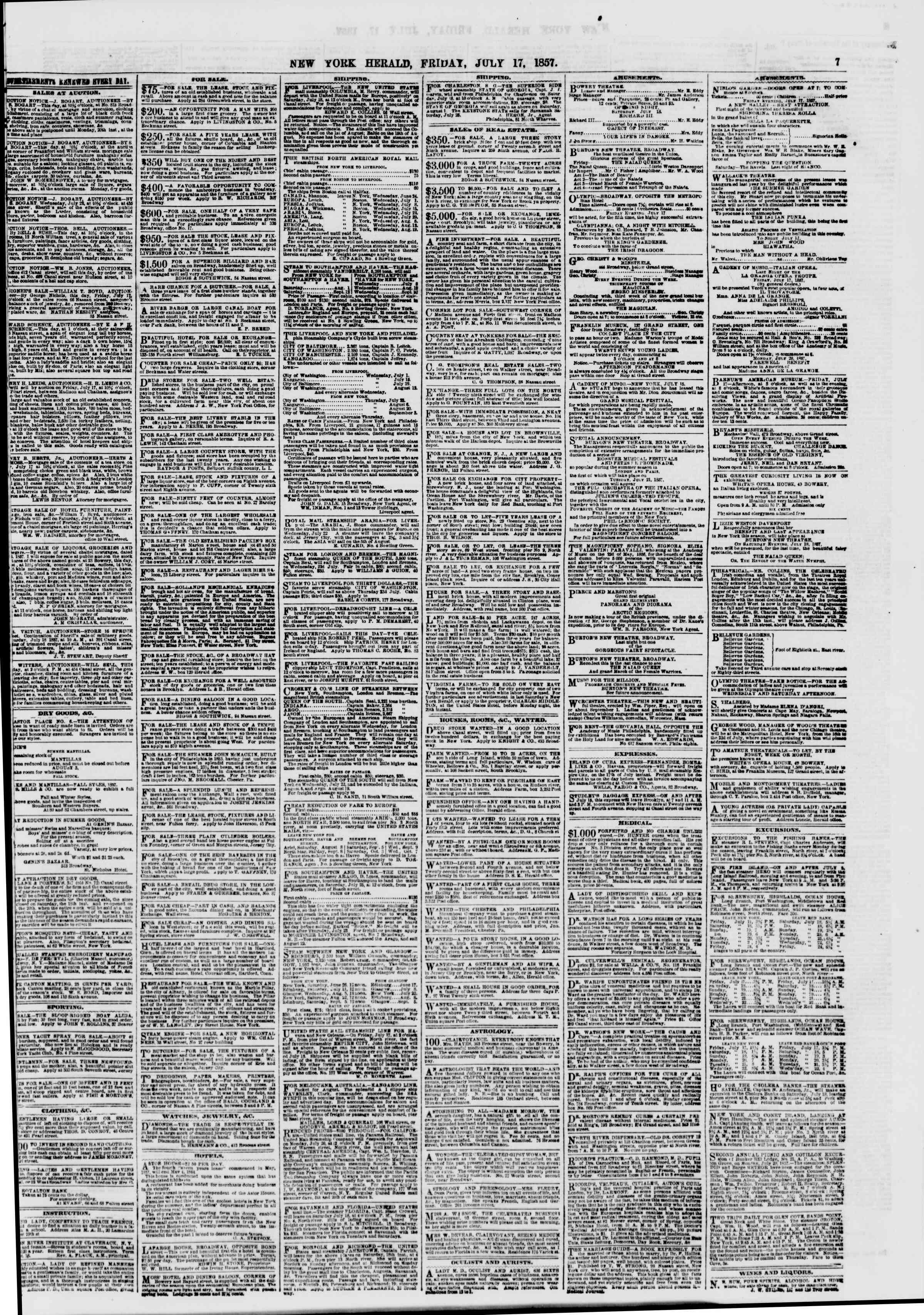 Newspaper of The New York Herald dated July 17, 1857 Page 7