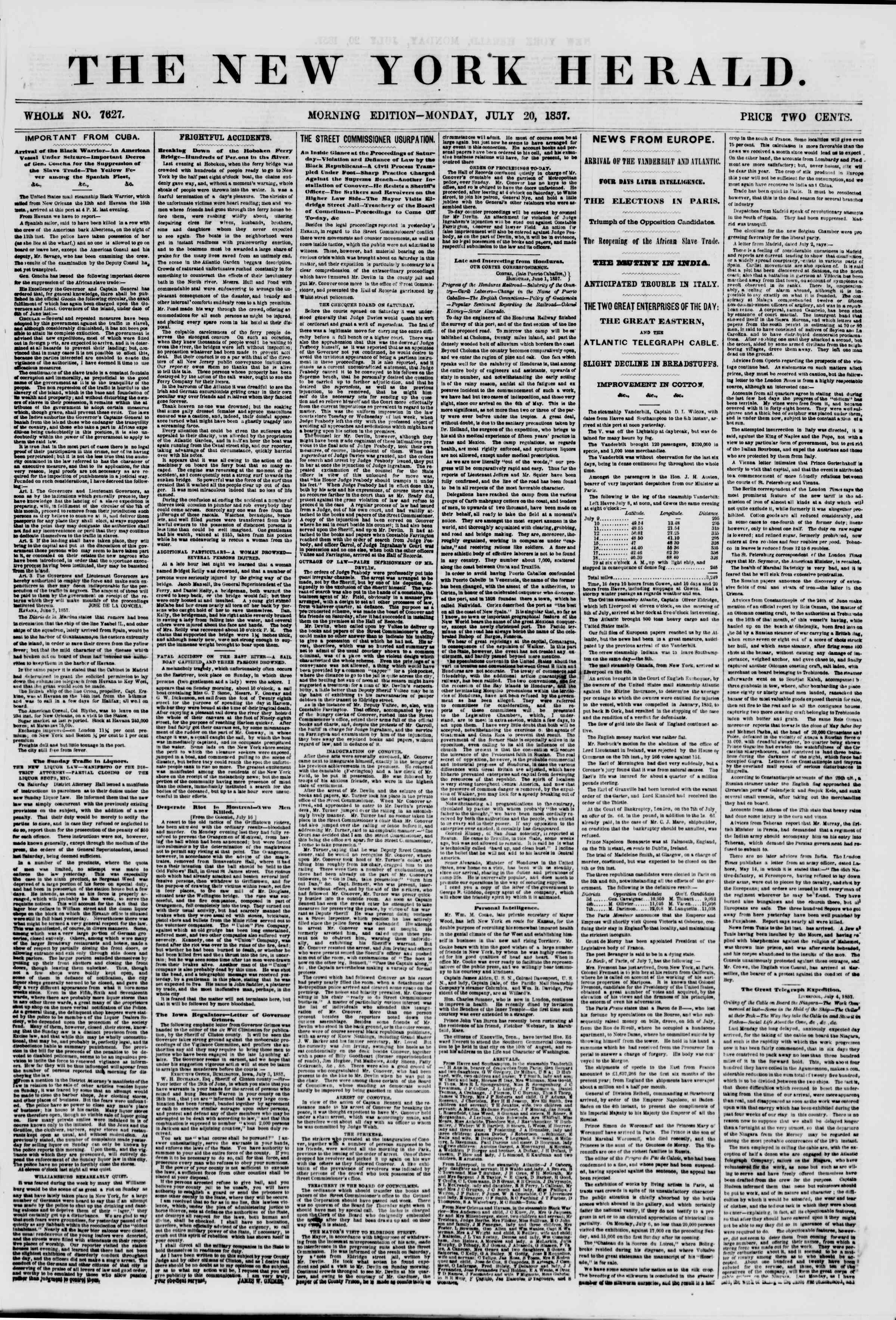Newspaper of The New York Herald dated July 20, 1857 Page 1