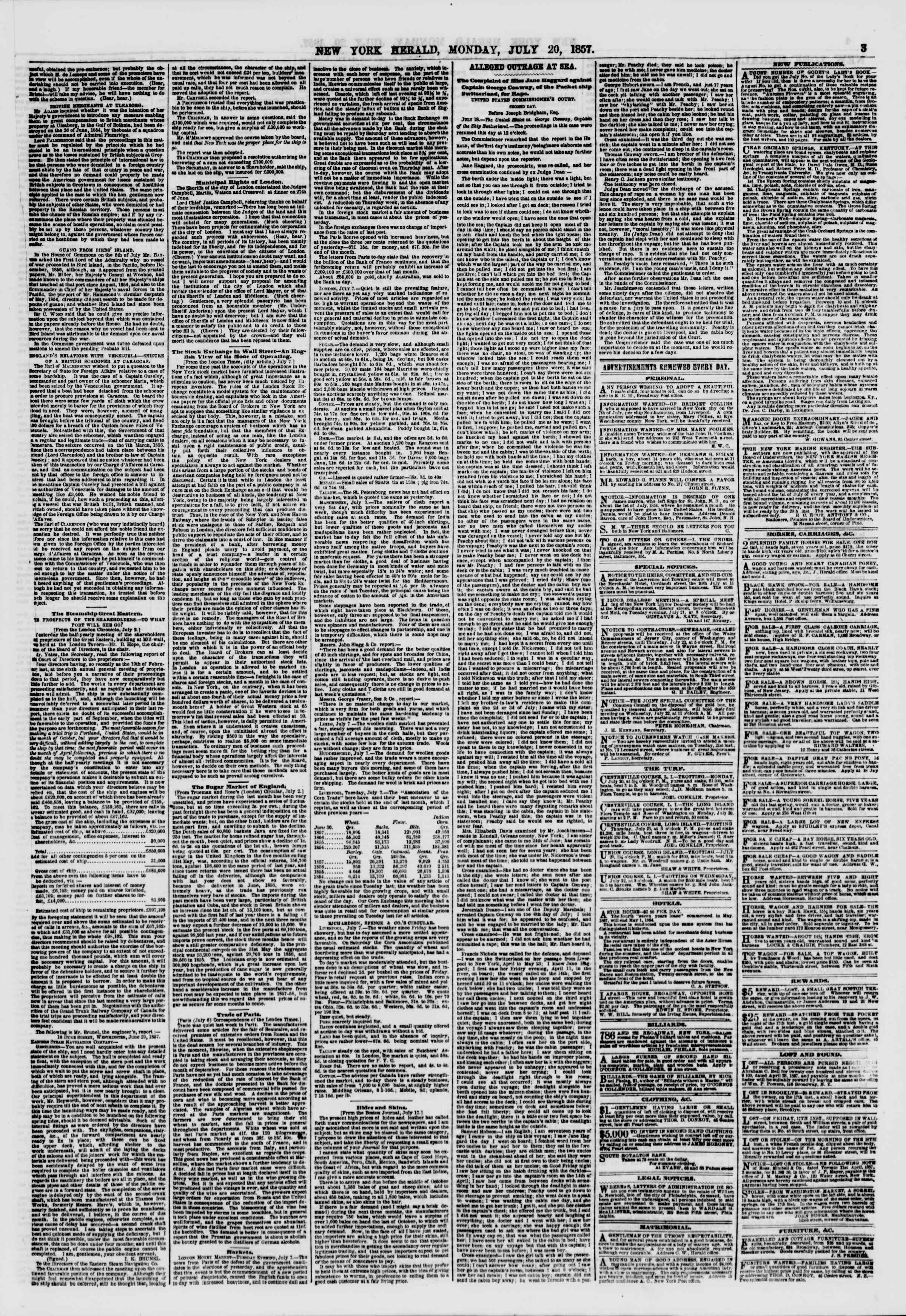 Newspaper of The New York Herald dated July 20, 1857 Page 3
