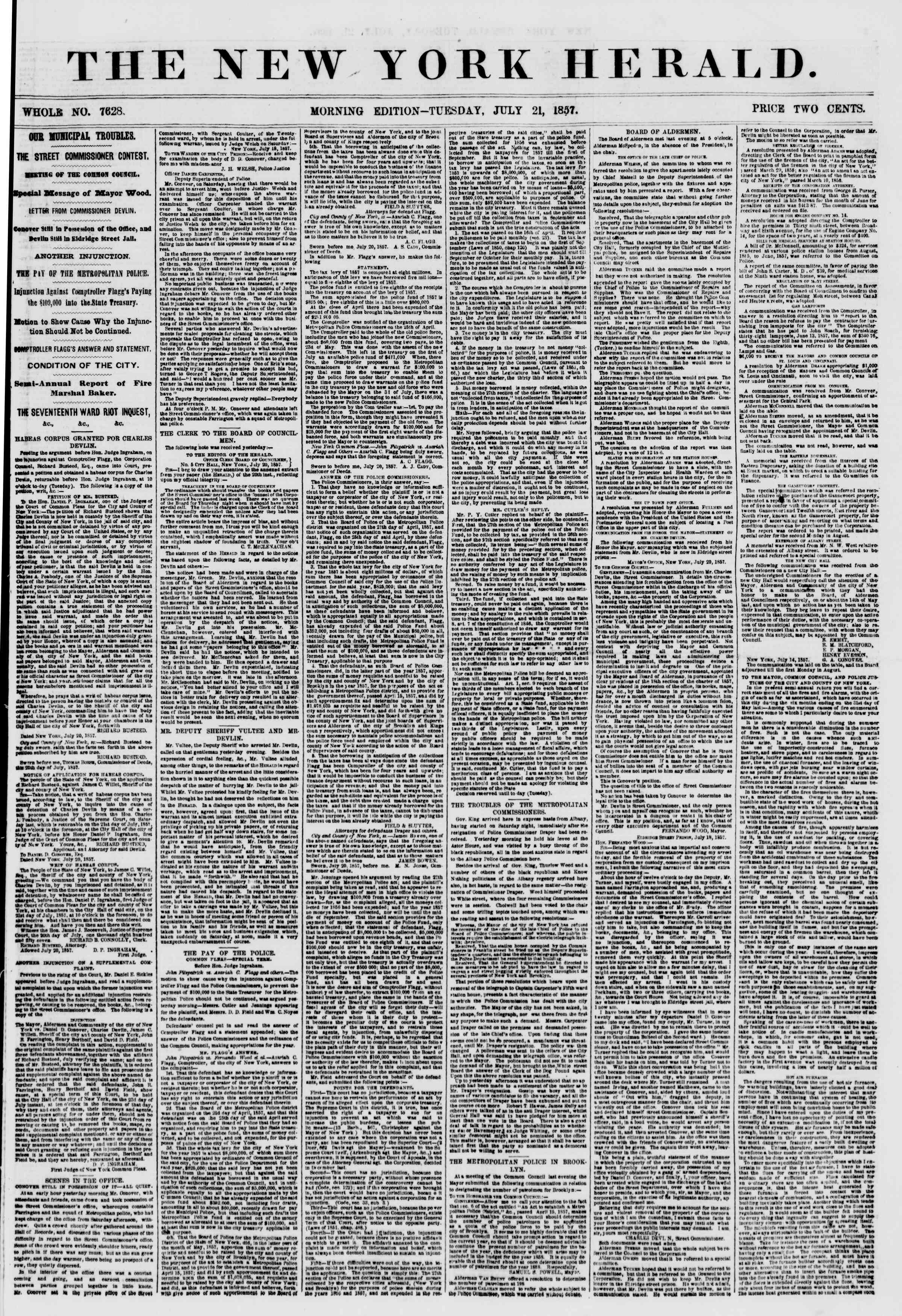 Newspaper of The New York Herald dated July 21, 1857 Page 1
