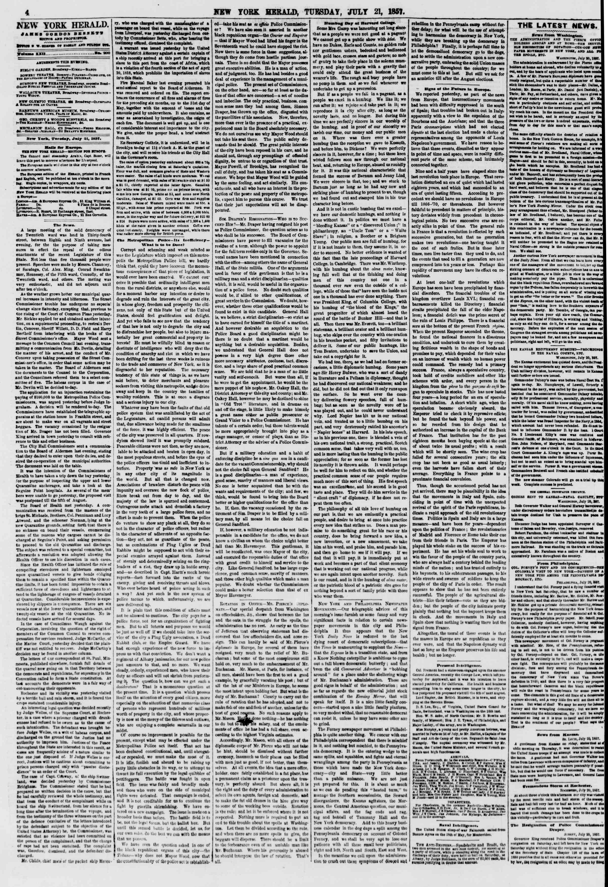 Newspaper of The New York Herald dated July 21, 1857 Page 4