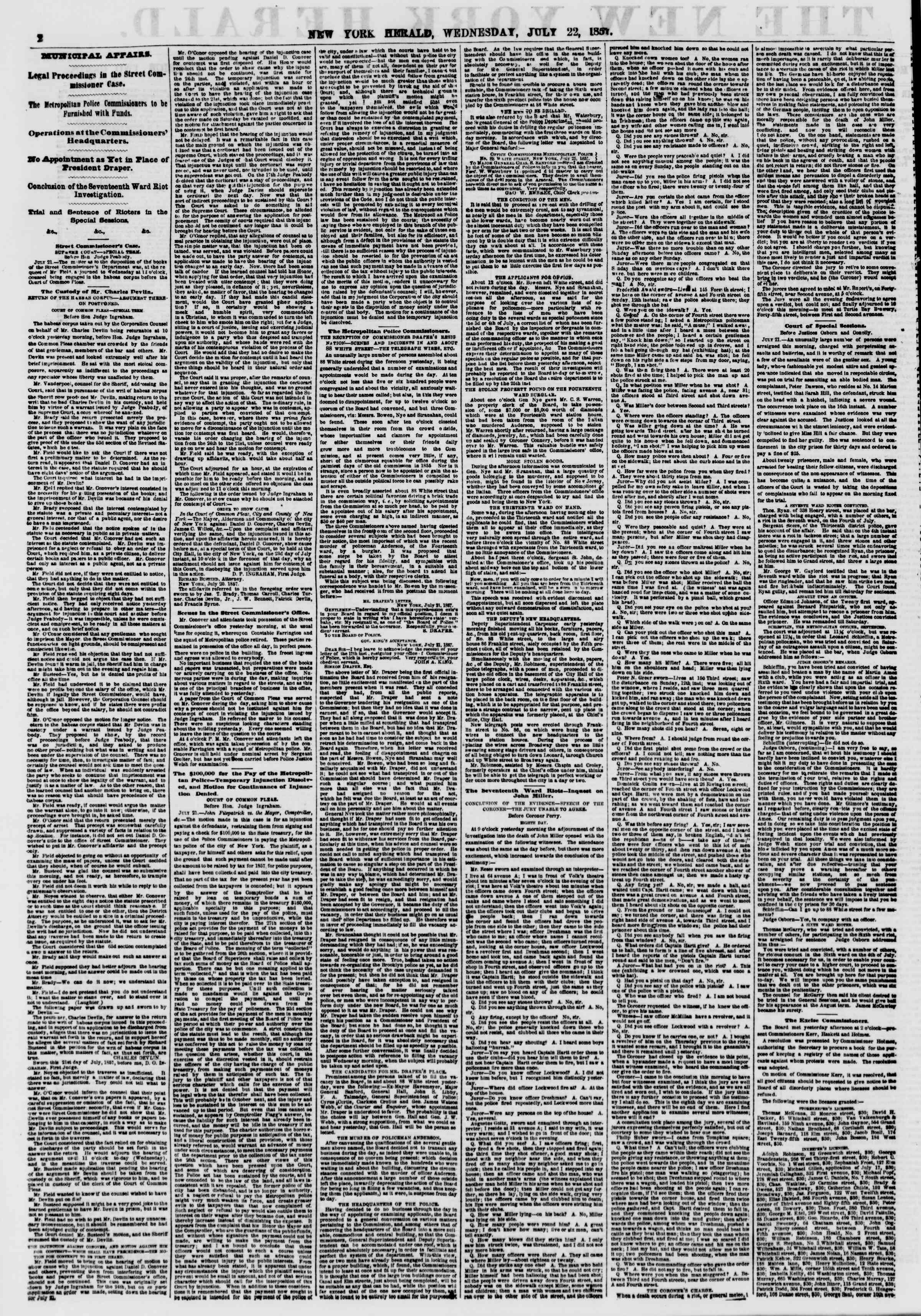 Newspaper of The New York Herald dated July 22, 1857 Page 2