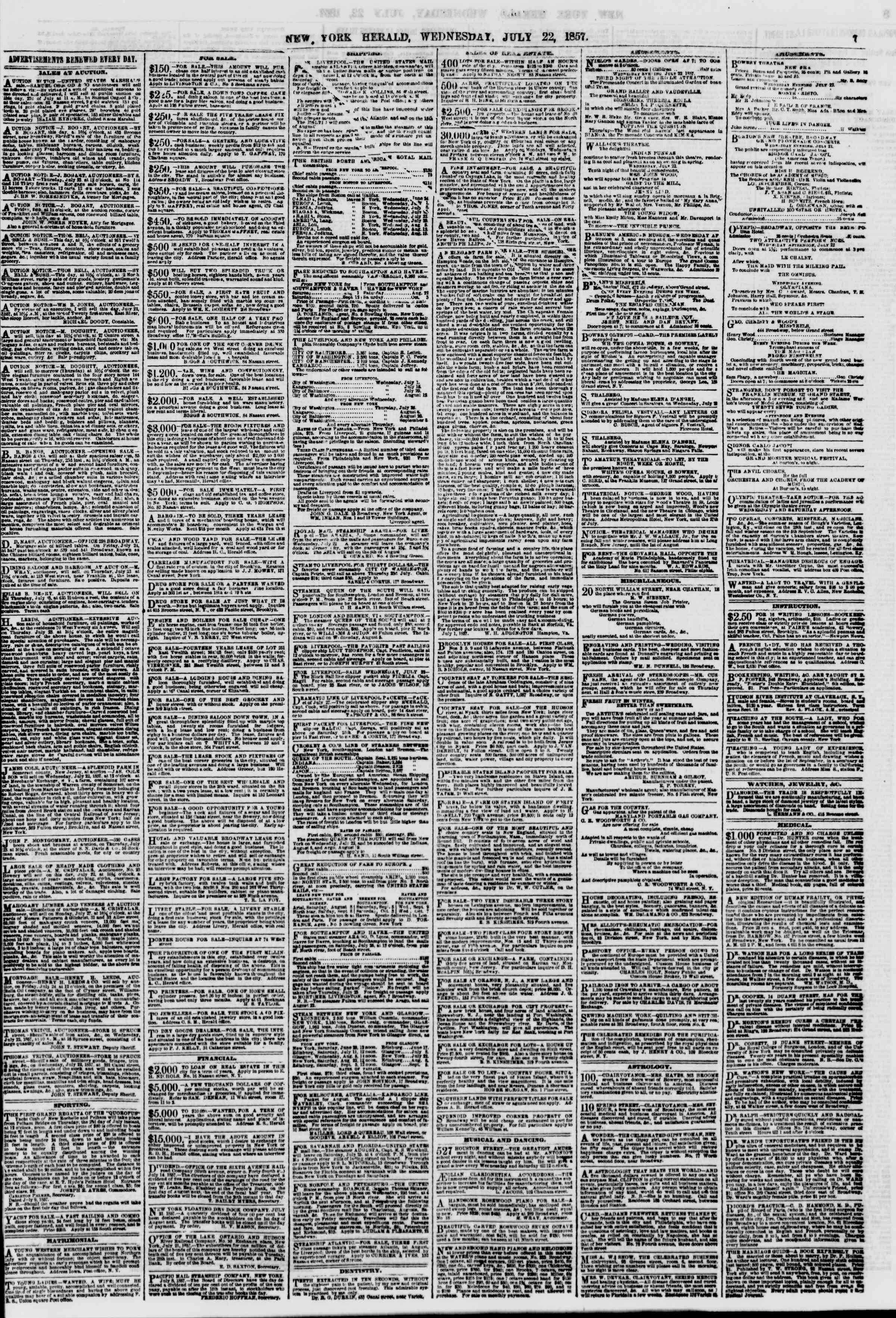 Newspaper of The New York Herald dated July 22, 1857 Page 7