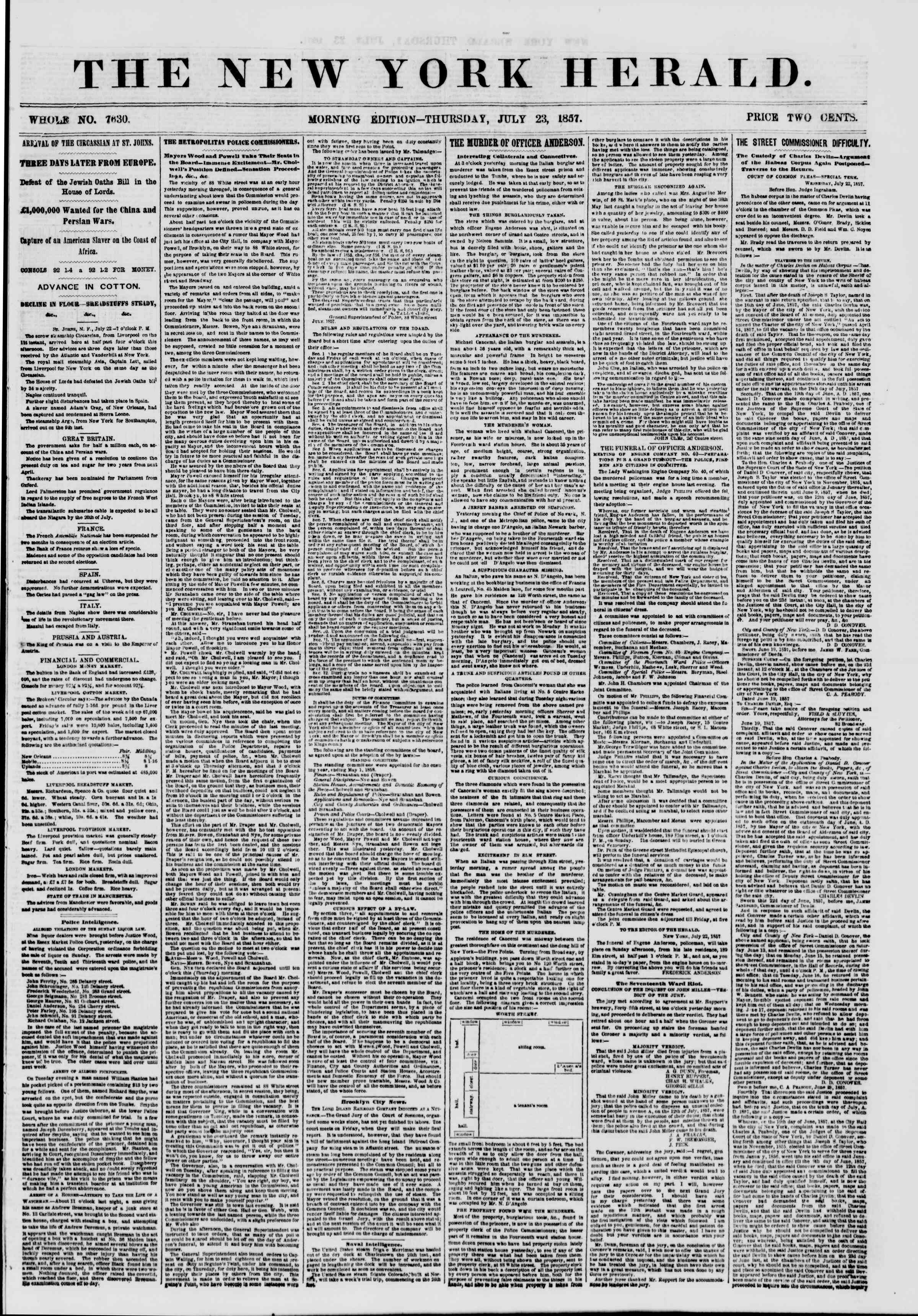 Newspaper of The New York Herald dated July 23, 1857 Page 1