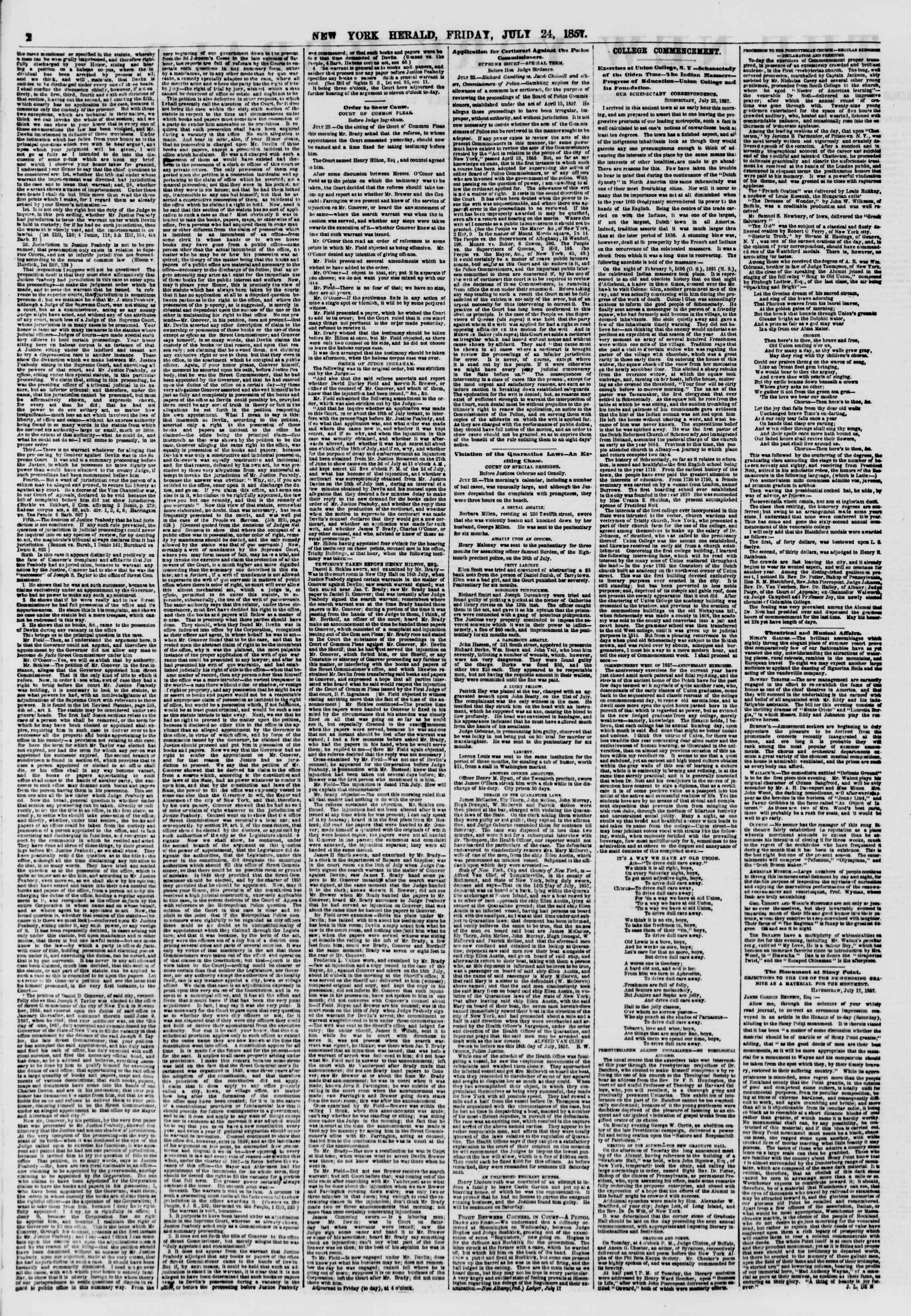 Newspaper of The New York Herald dated July 24, 1857 Page 2