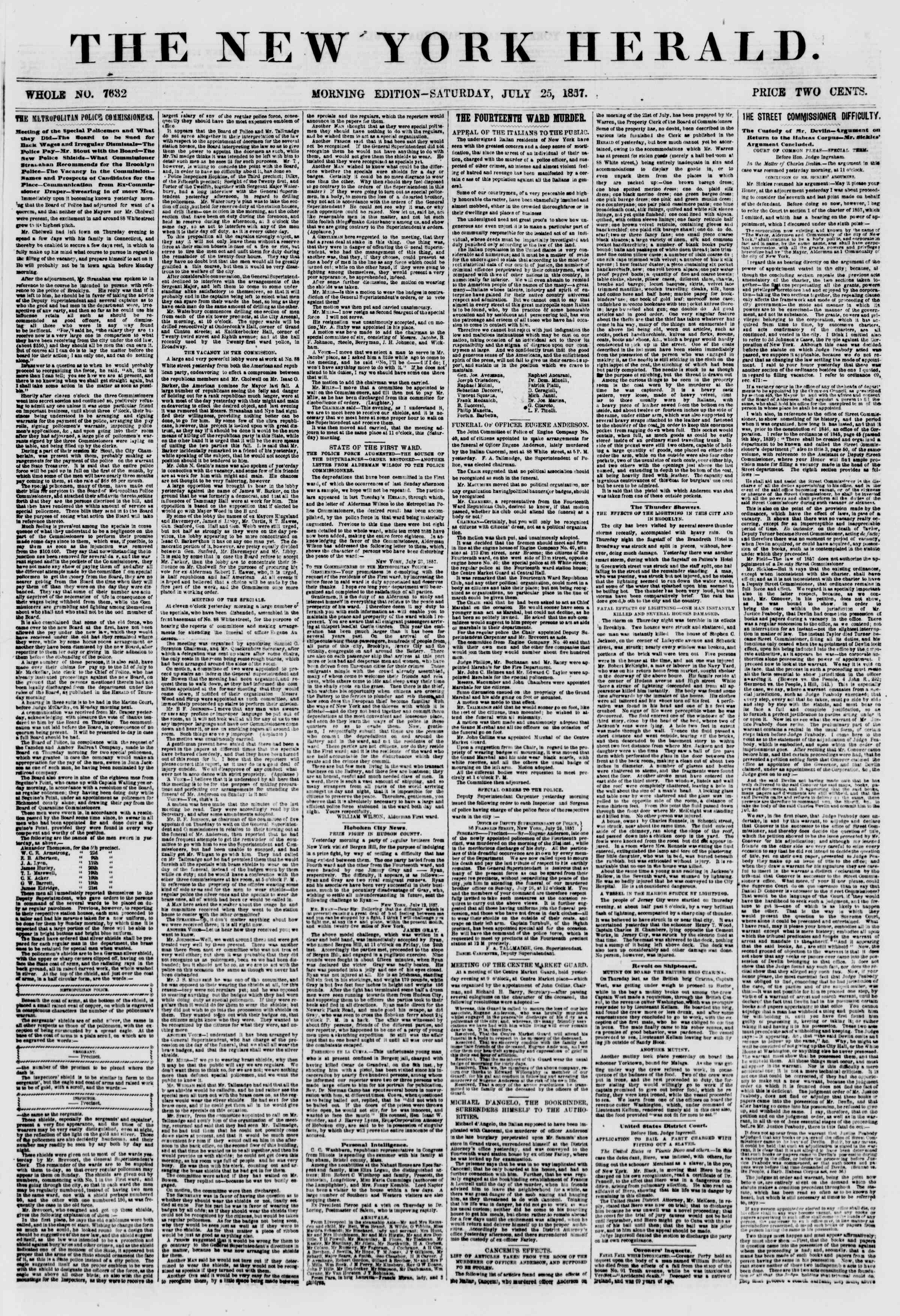 Newspaper of The New York Herald dated July 25, 1857 Page 1