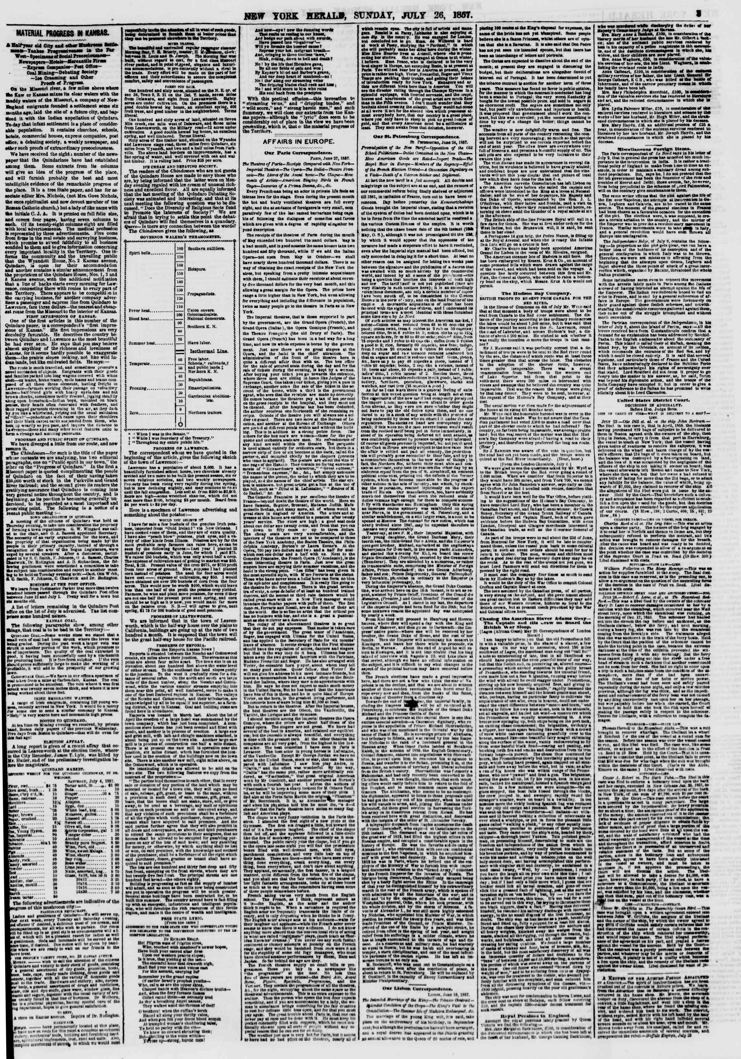 Newspaper of The New York Herald dated July 26, 1857 Page 3