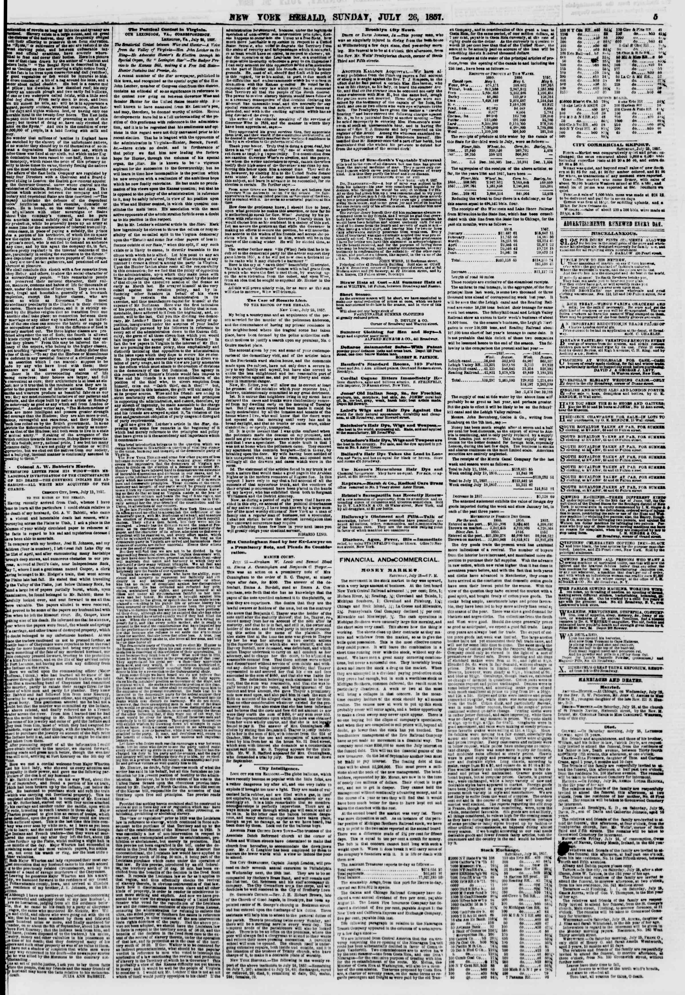 Newspaper of The New York Herald dated July 26, 1857 Page 5