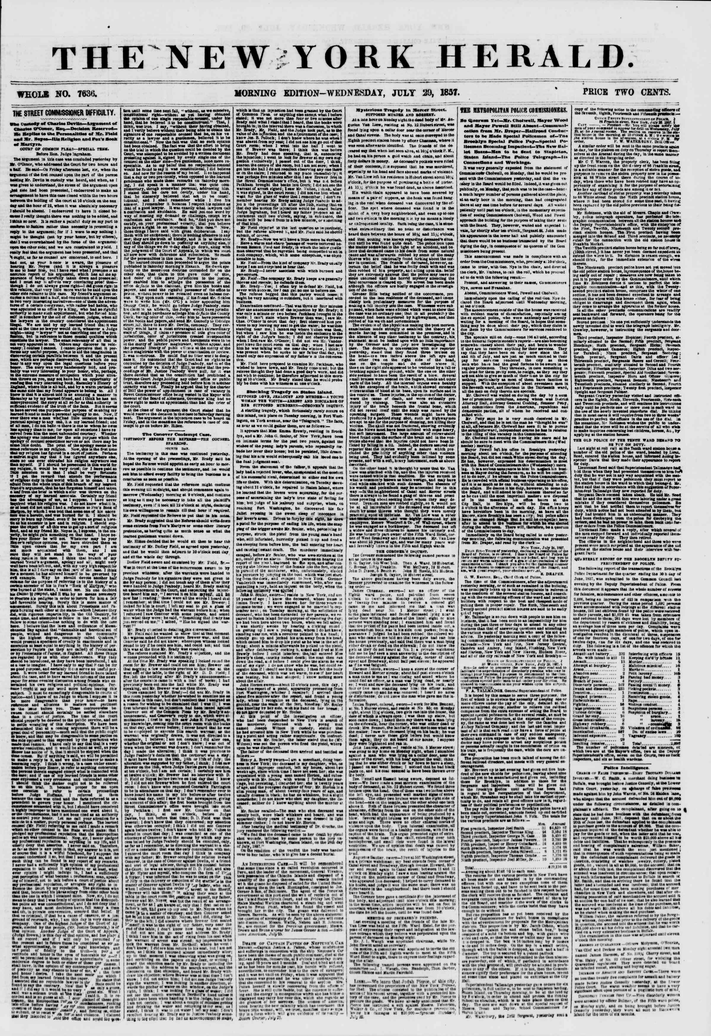 Newspaper of The New York Herald dated July 29, 1857 Page 1