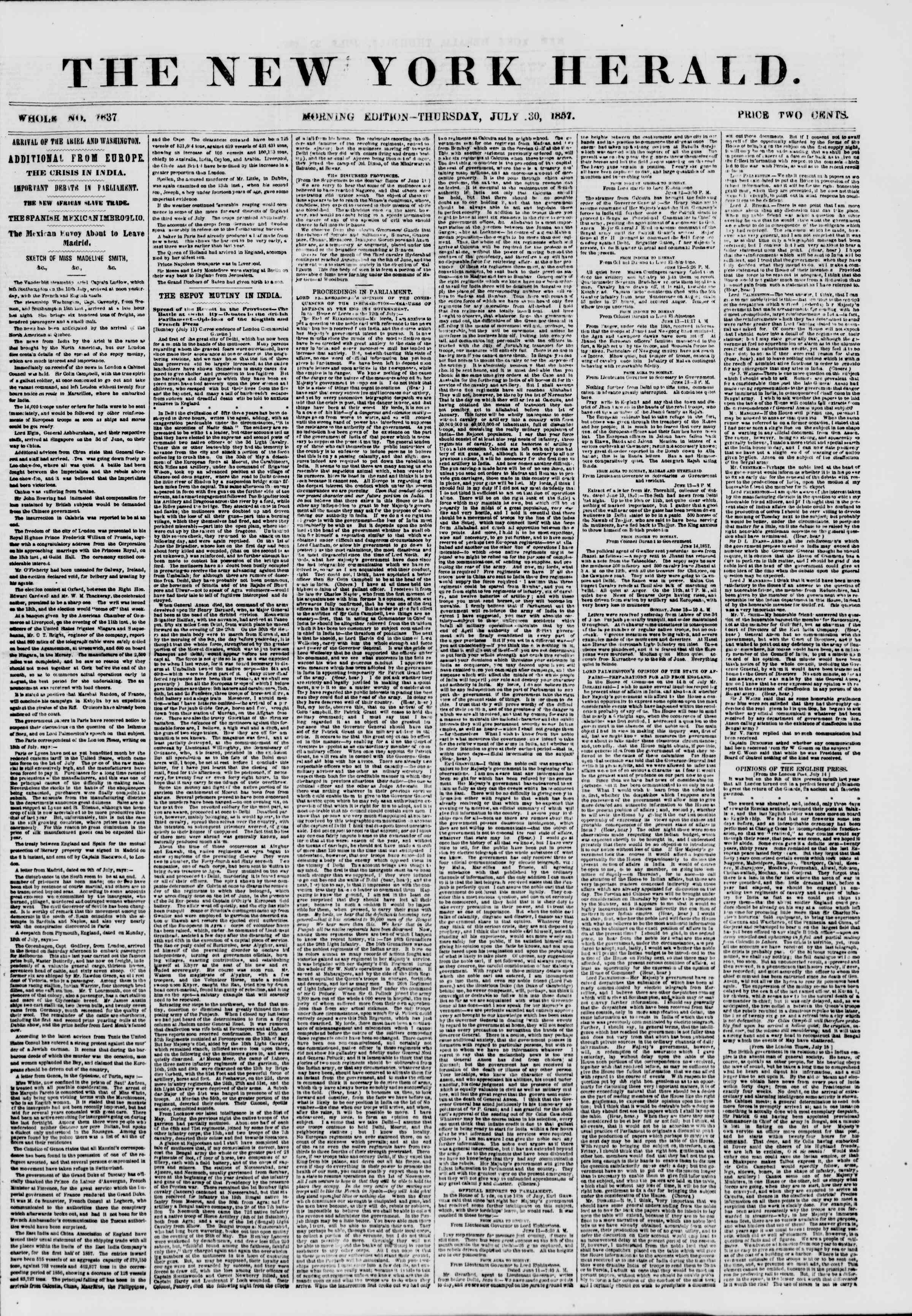 Newspaper of The New York Herald dated July 30, 1857 Page 1